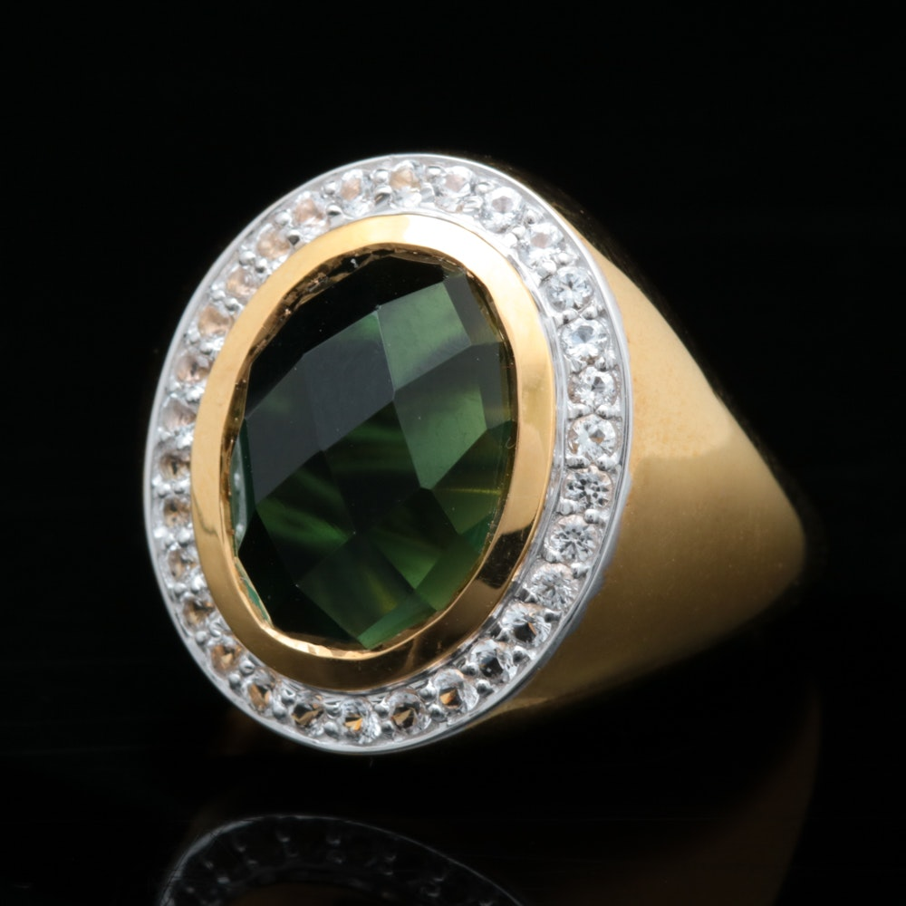 Gold Wash on Sterling Silver, Green Quartz and White Topaz Ring