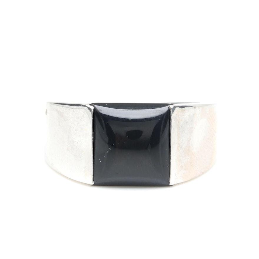 90ebd41bcde8a Circa 1997 Cartier 18K White Gold Black Onyx Ring