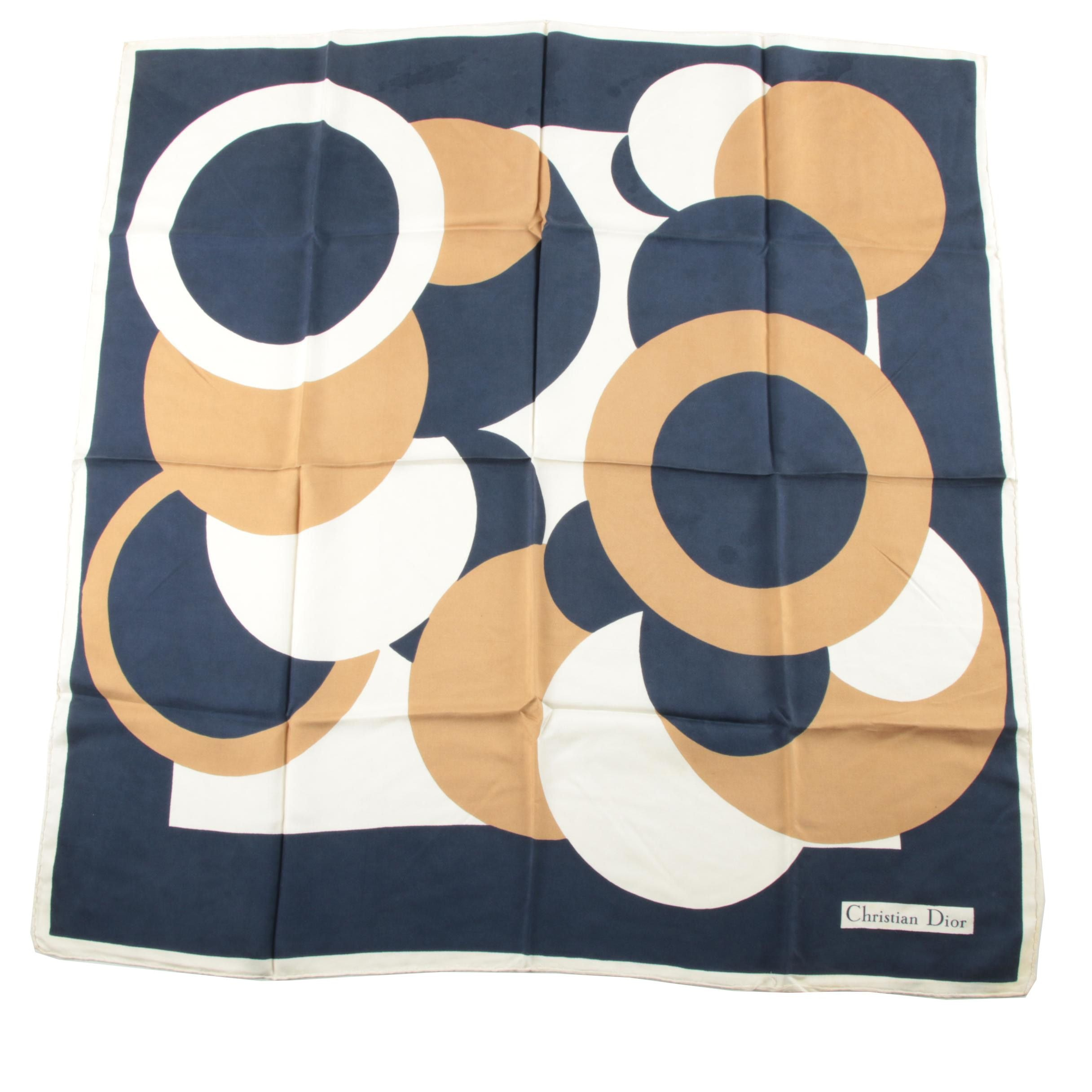 Vintage Christian Dior Navy and Tan Silk Twill Scarf