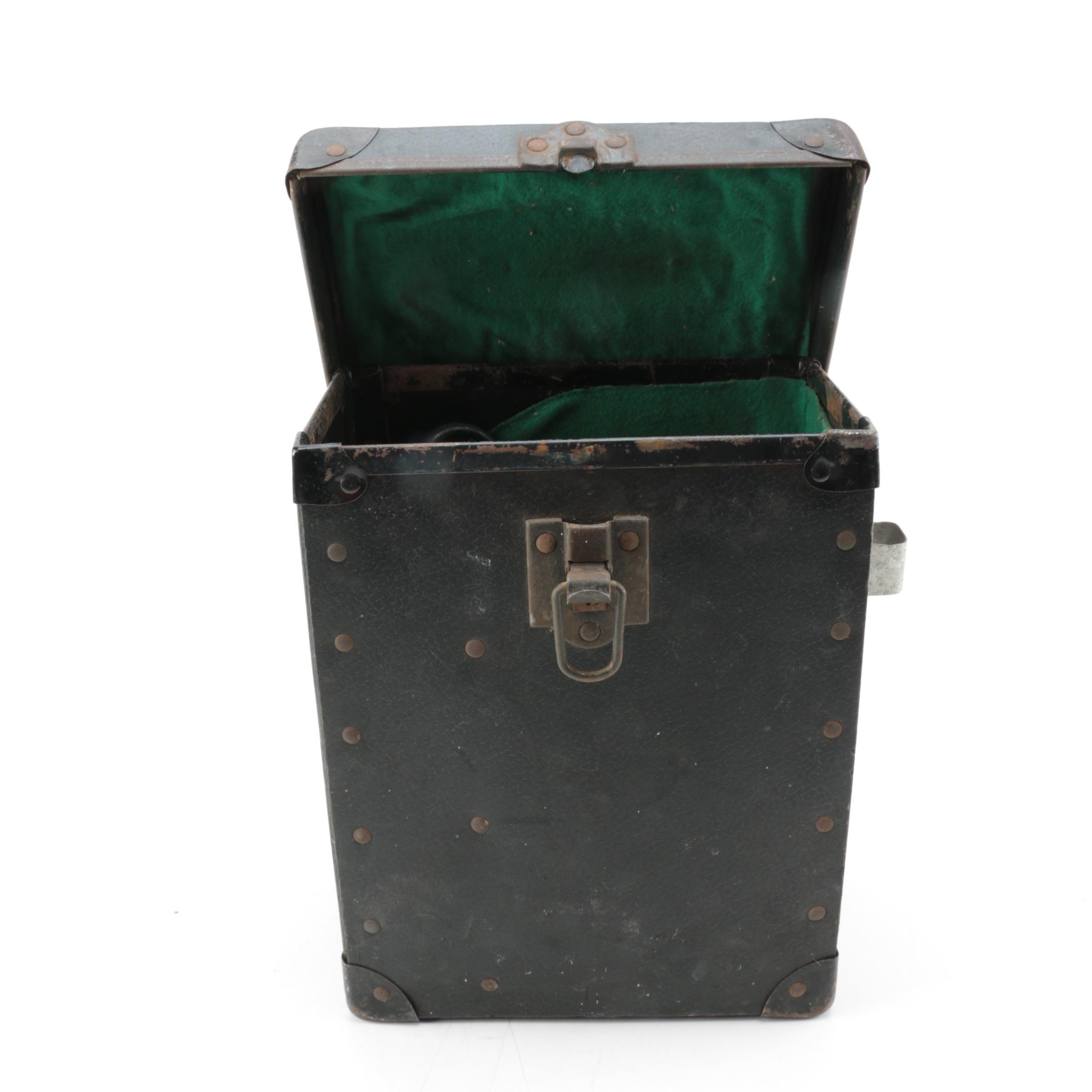 Vintage Black Hard Case With Hinged Lid