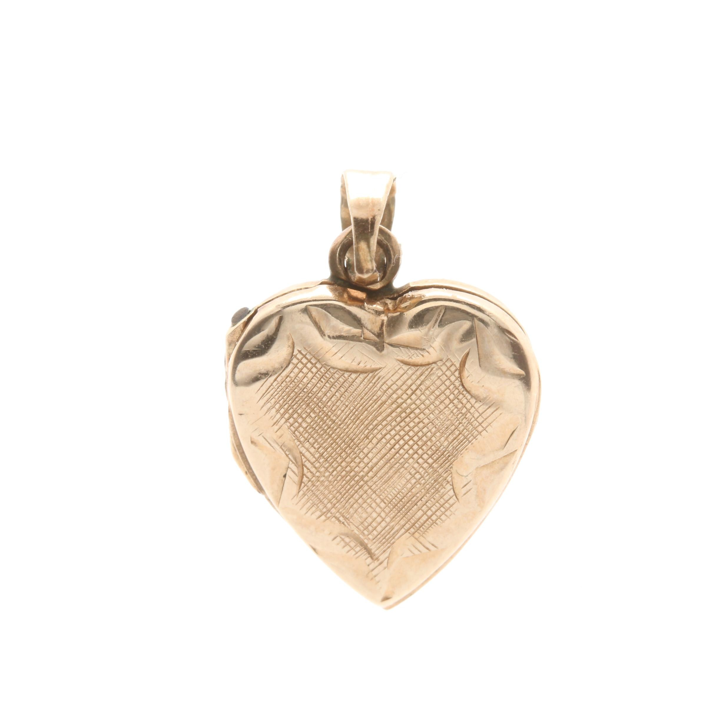 14K Yellow Gold Heart Locket Pendant