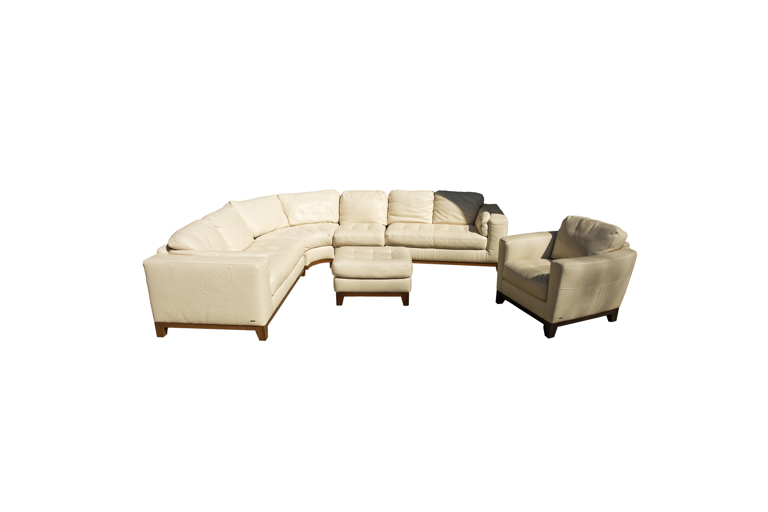 Beige Leather Sectional Sofa with Armchair and Ottoman by Natuzzi