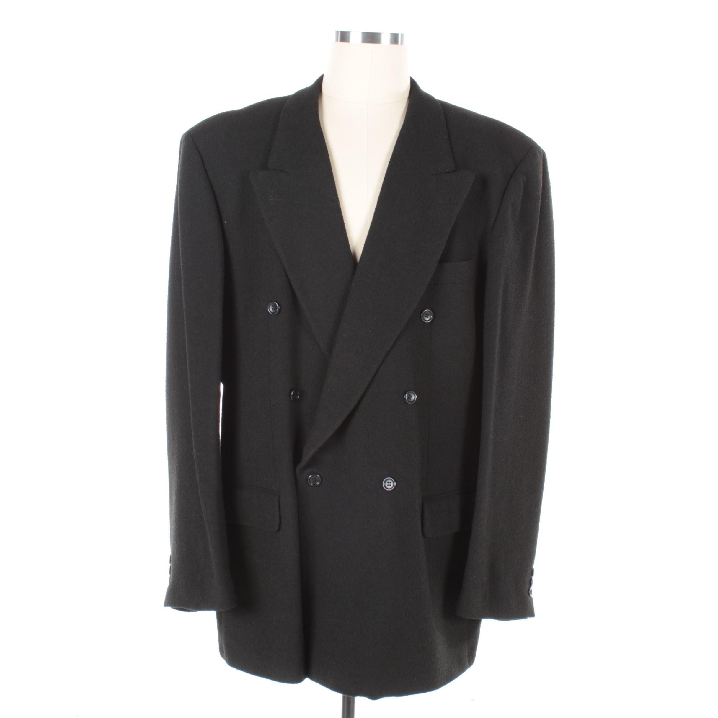Men's Boss Hugo Boss Black Double-Breasted Wool Blend Jacket