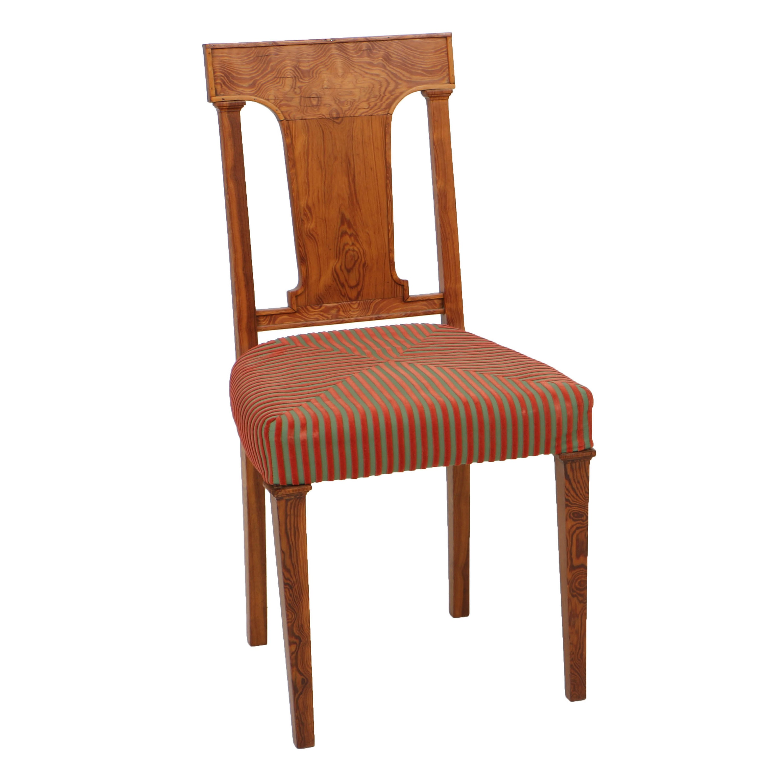 Vintage Danish Pine Side Chair With Padded Seat