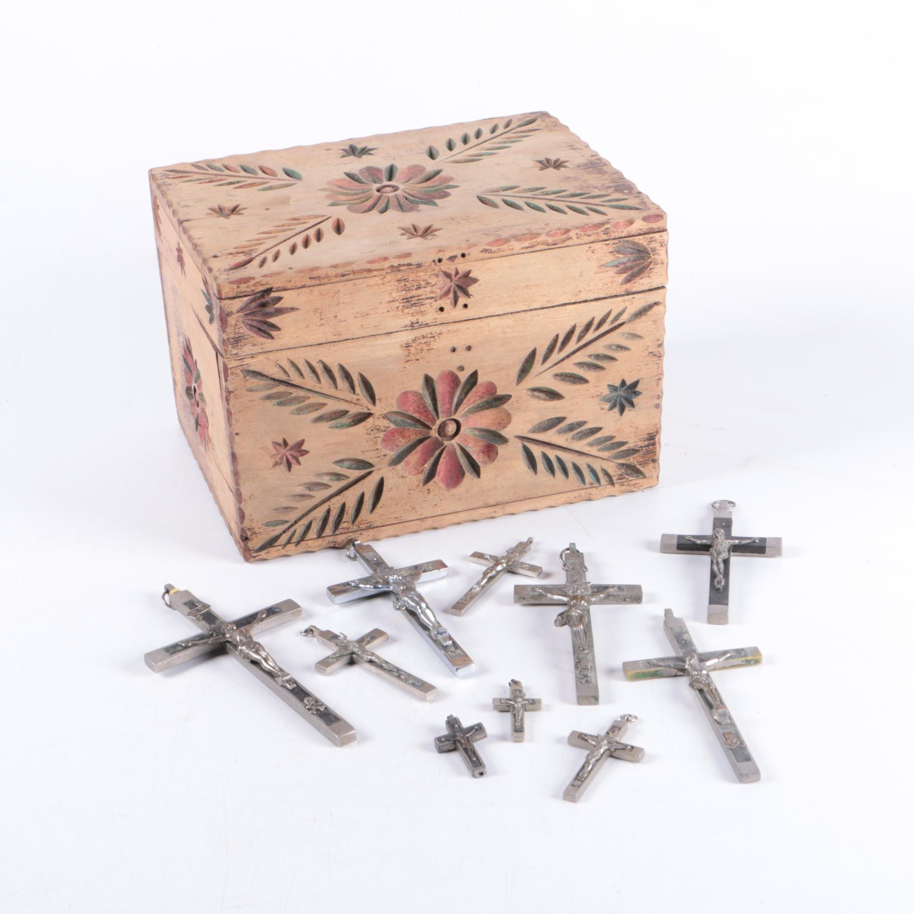 Crucifixes Including Milagros in Carved Box