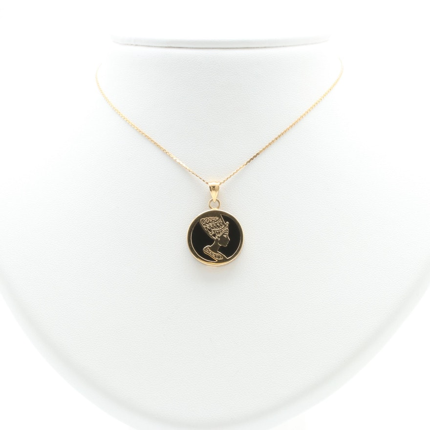 Sarah coventry 14k yellow gold black onyx nefertiti pendant necklace mozeypictures Choice Image