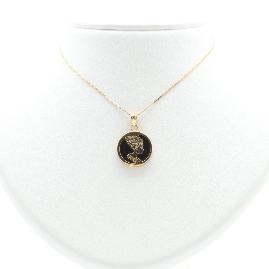 Sarah coventry 14k yellow gold black onyx nefertiti pendant necklace mozeypictures Gallery