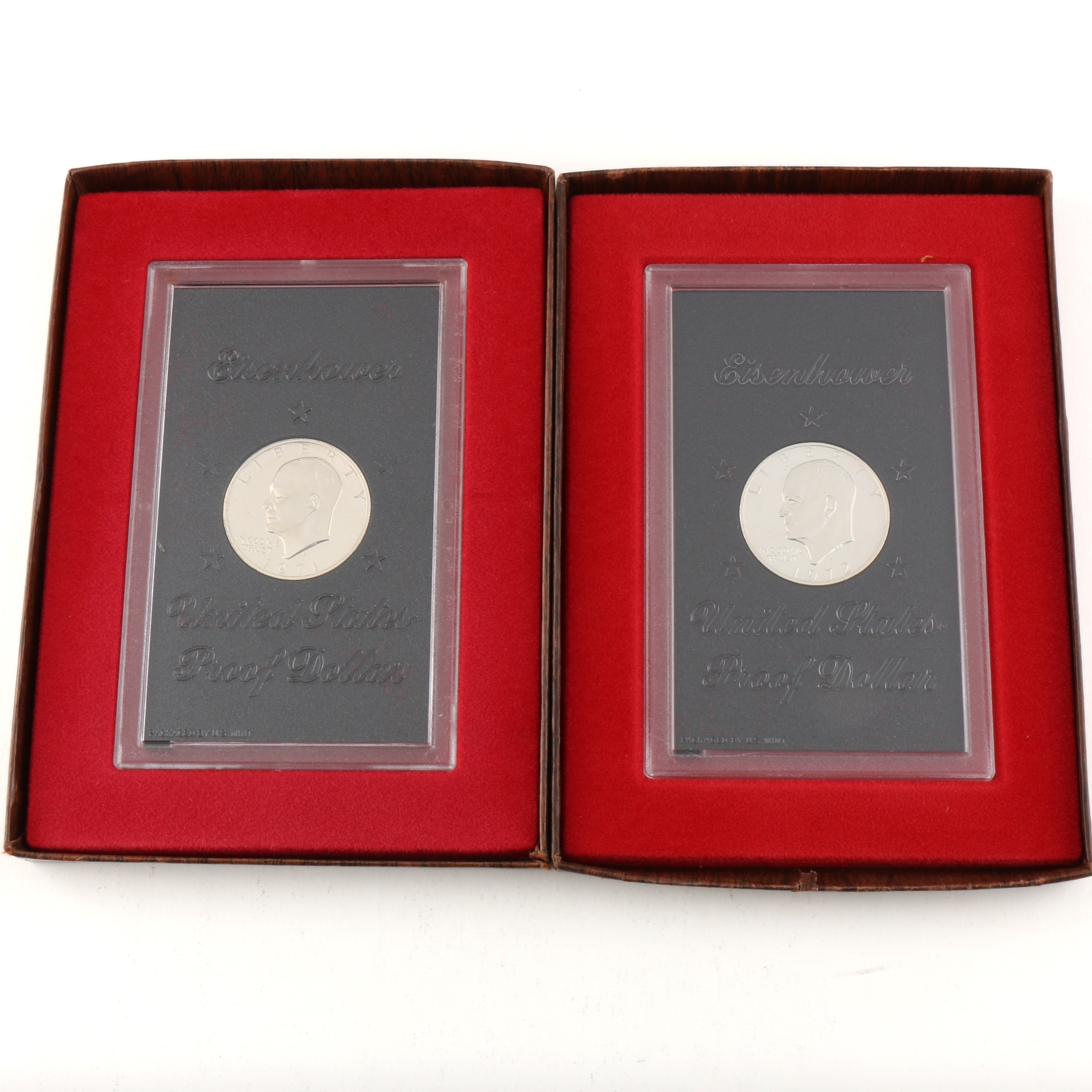 Group of Two Eisenhower Silver Dollar Proof Coins: 1971-S and 1972-S