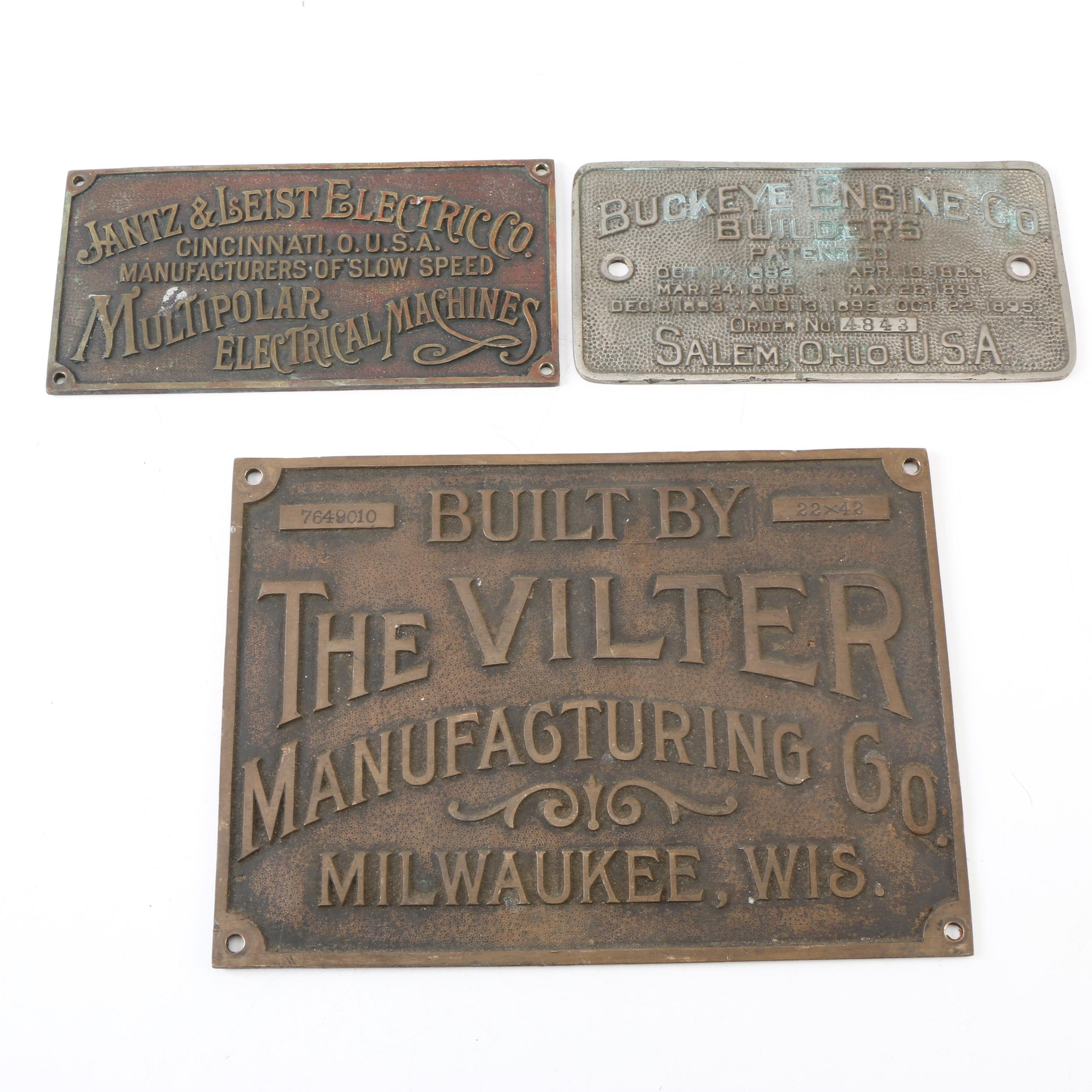 Jantz & Leist Electric Co, Buckeye Engine Co, Vilter Mfg. Co. Metal Name Plates