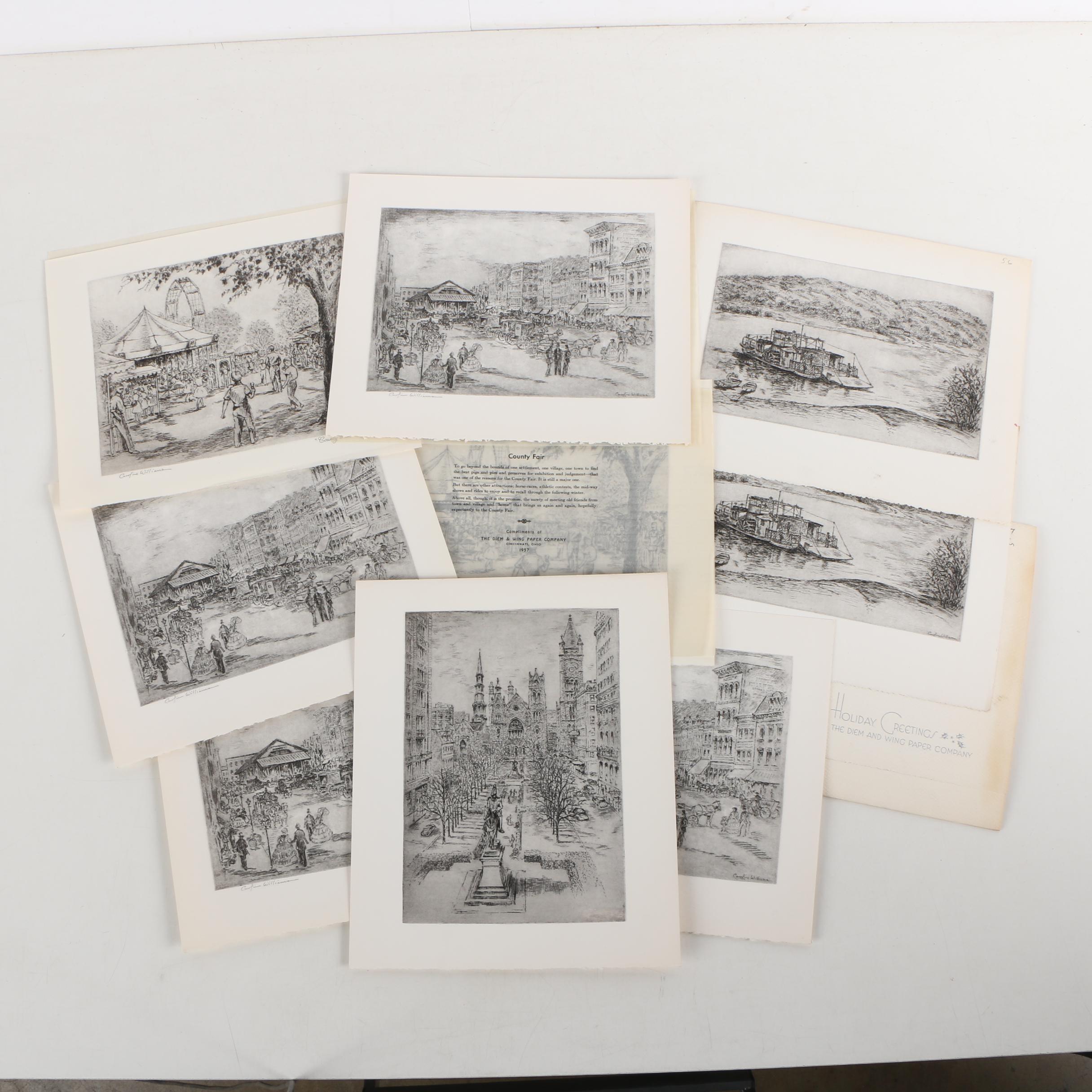 Rotogravure Prints After Caroline Williams of Historic Cincinnati Scenes