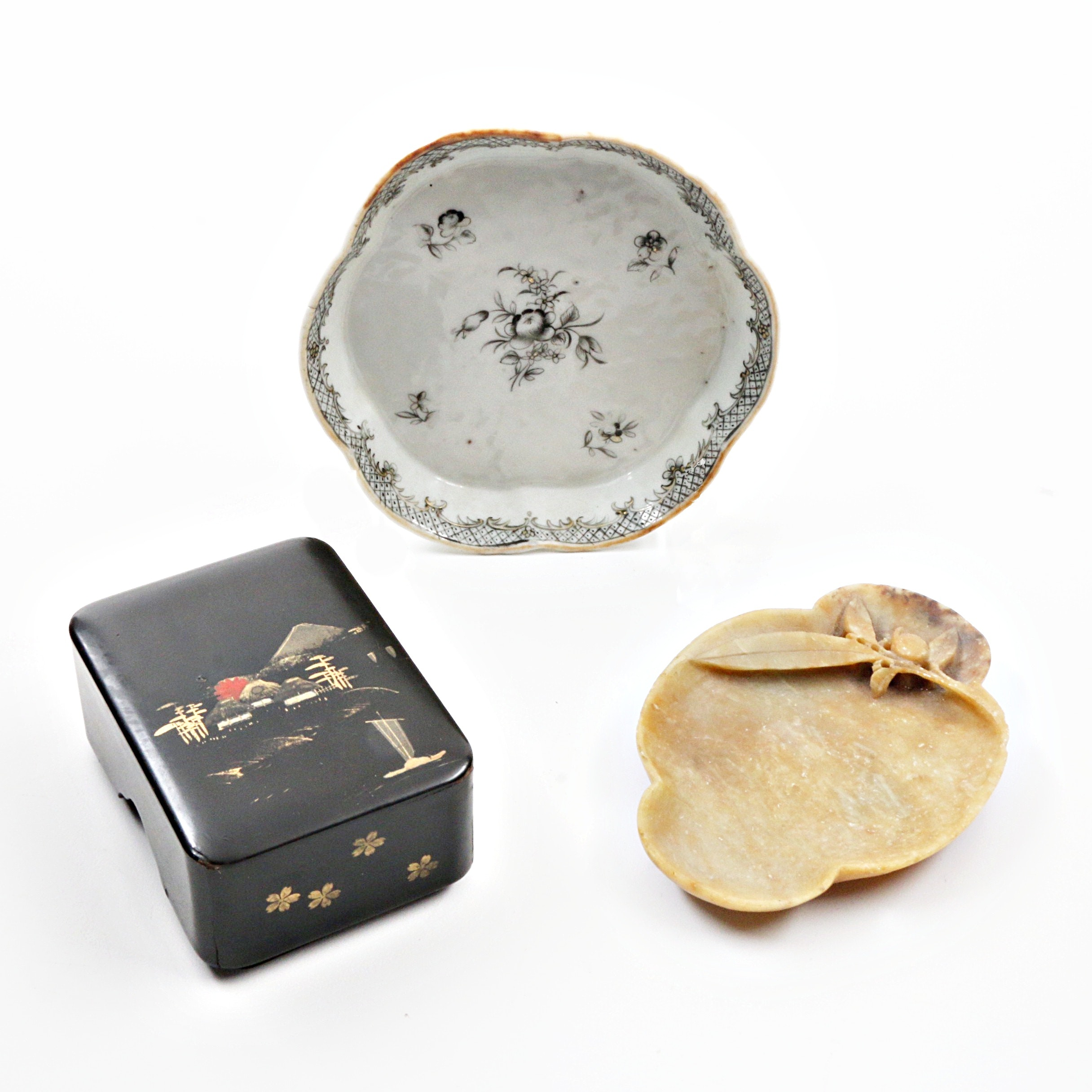Chinese Export Porcelain Plate, Soapstone Dish and Japanese Lacquered Box