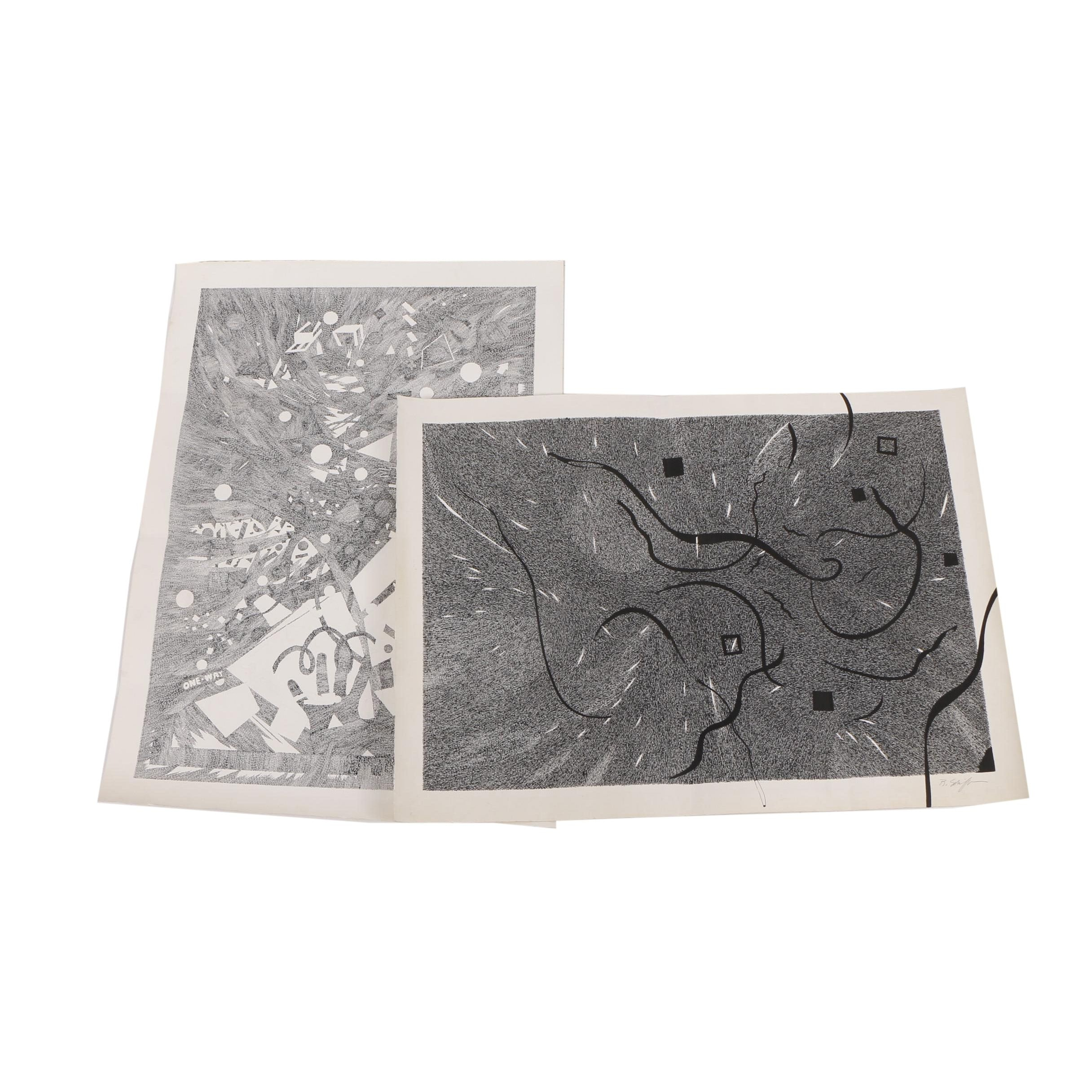 Bill Schiffer Abstract Ink Drawings