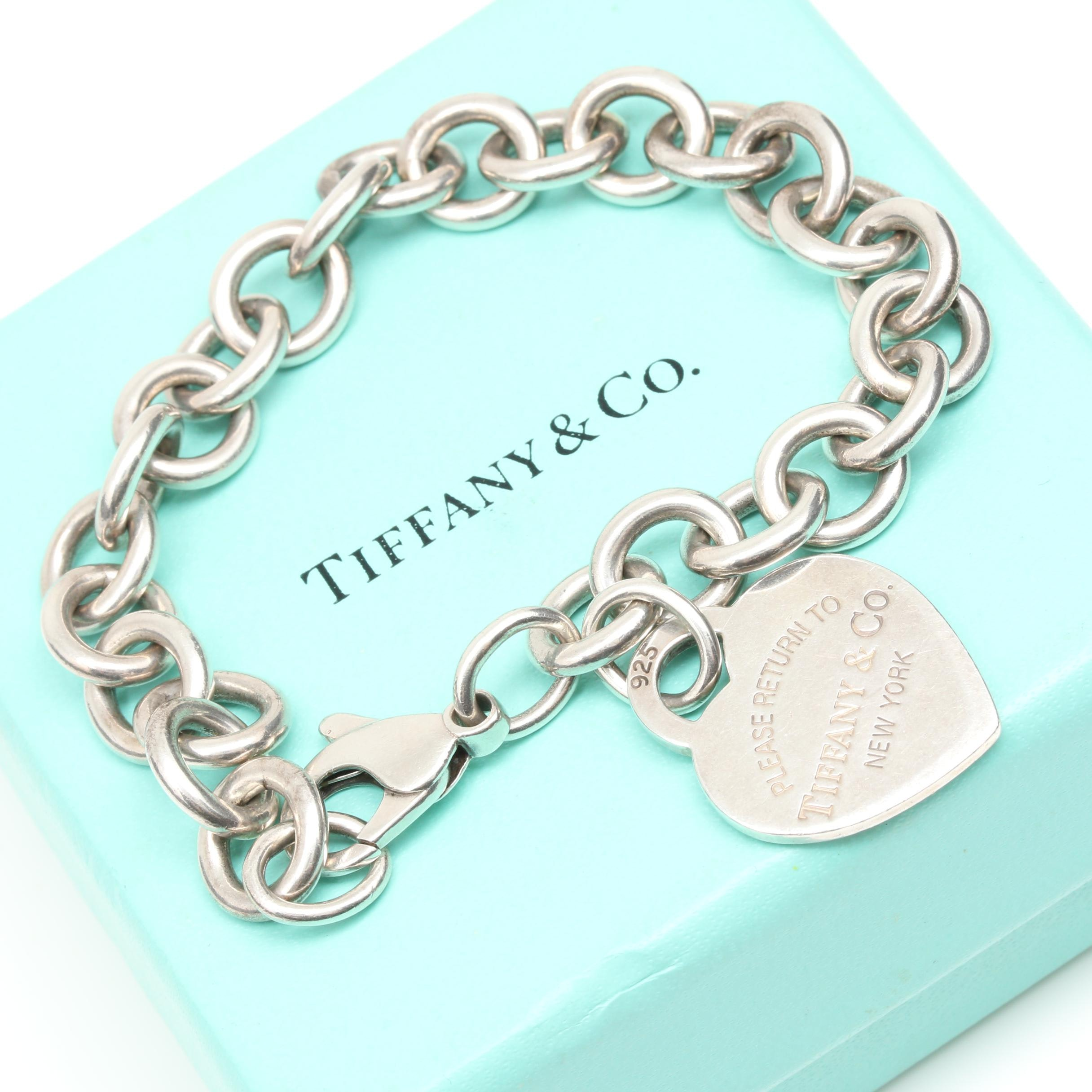 "Tiffany & Co. Sterling Silver ""Heart Tag"" Charm Bracelet"