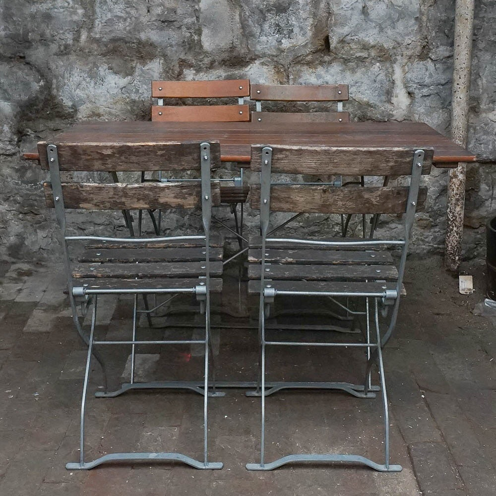 Folding Metal and Wood Bistro Patio Set