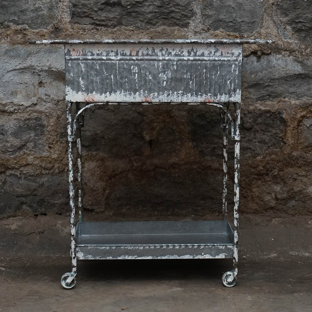 Distressed Painted Galvanized Metal Beverage Cart
