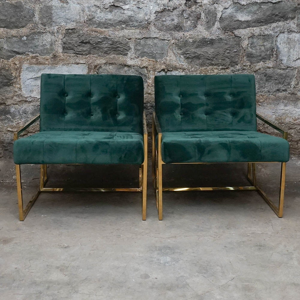 Pair of Green Faux Velvet Arm Chairs
