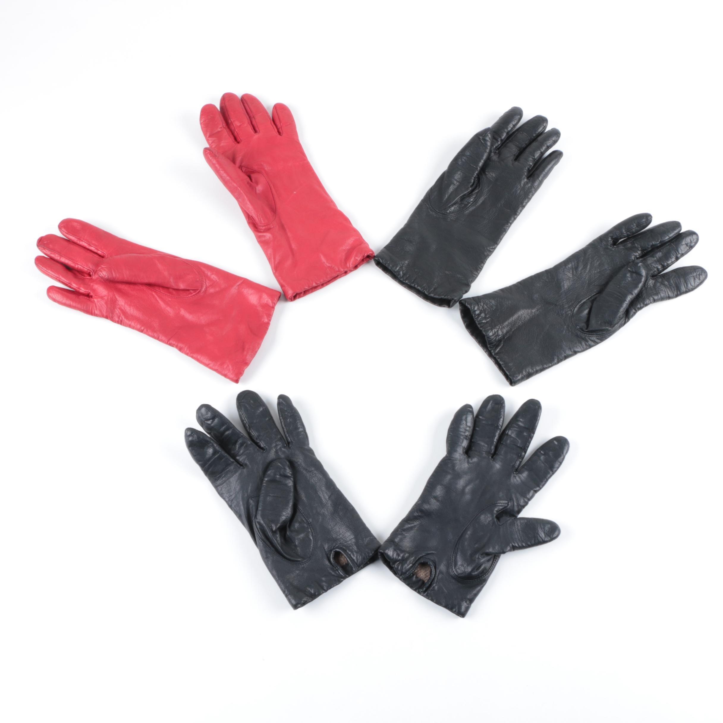 Women's Vintage Leather Gloves, Fur and Faux Fur Earmuffs