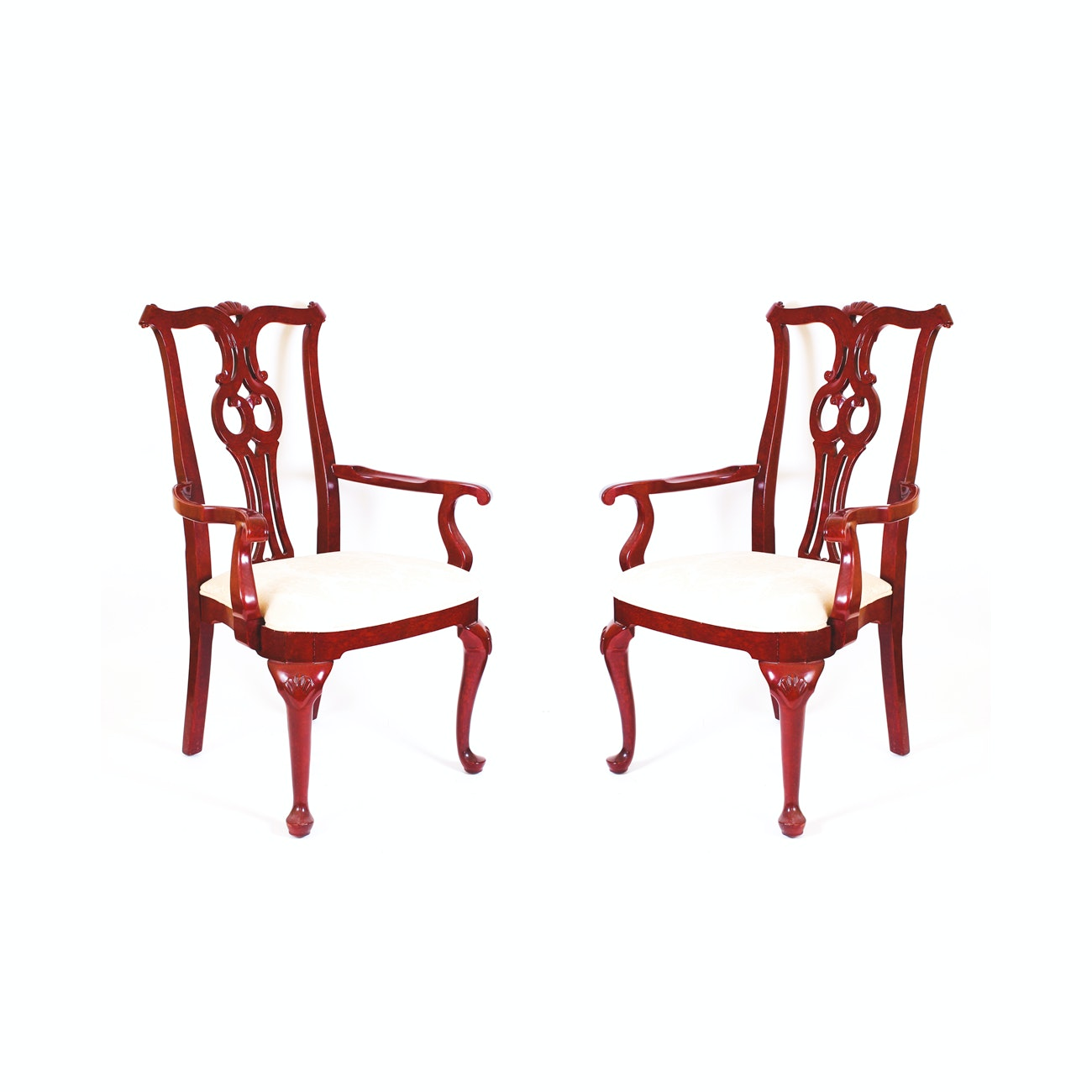 Pair of Chippendale-Style Armchairs by Century Furniture