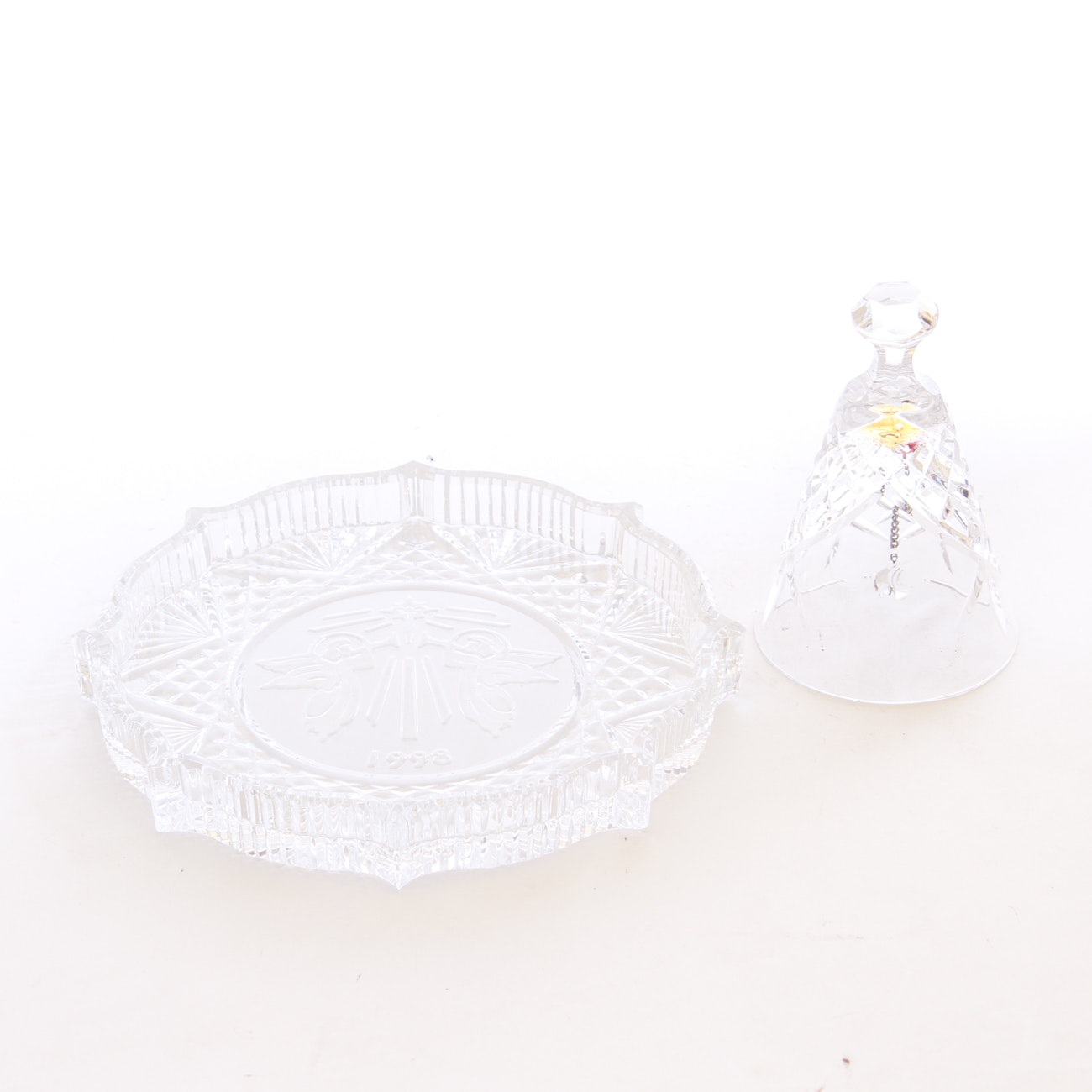Waterford Crystal 1986 Christmas Bell and 1998 Plate