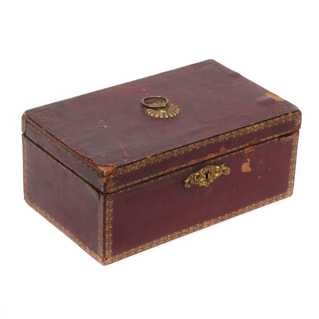 Antique Tooled Cordovan Leather Covered Pine Box