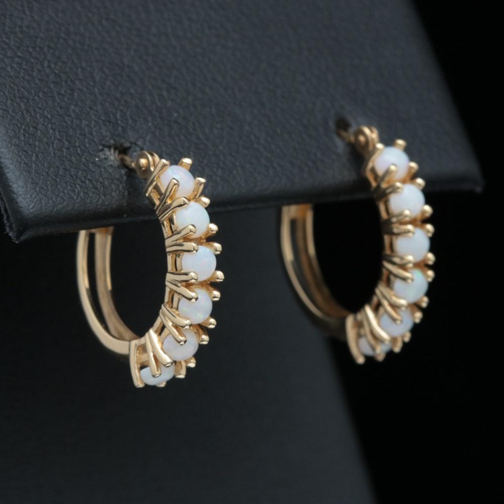 14K Yellow Gold and Opal Hoop Earrings