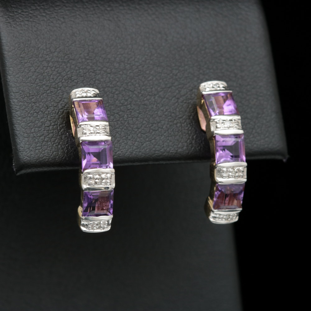 10K Yellow Gold, Amethyst and Diamond Earrings