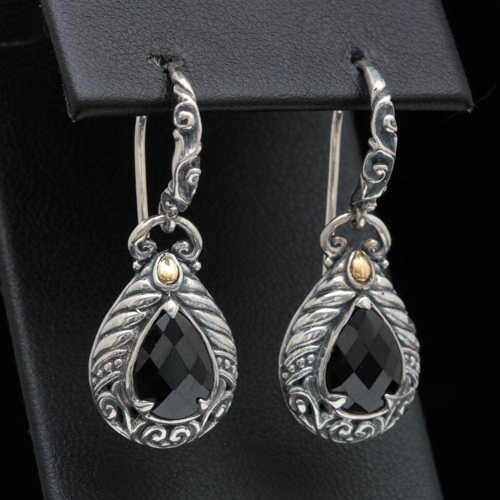 Robert Manse Sterling Silver, 18K Yellow Gold and Black Spinel Dangle Earrings