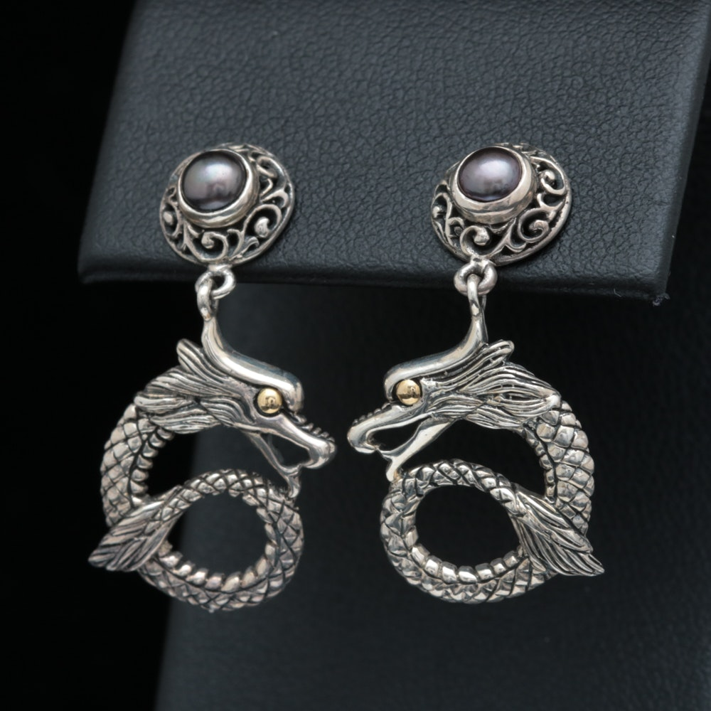 Robert Manse Sterling Silver, 18K Yellow Gold and Black Pearl Earrings