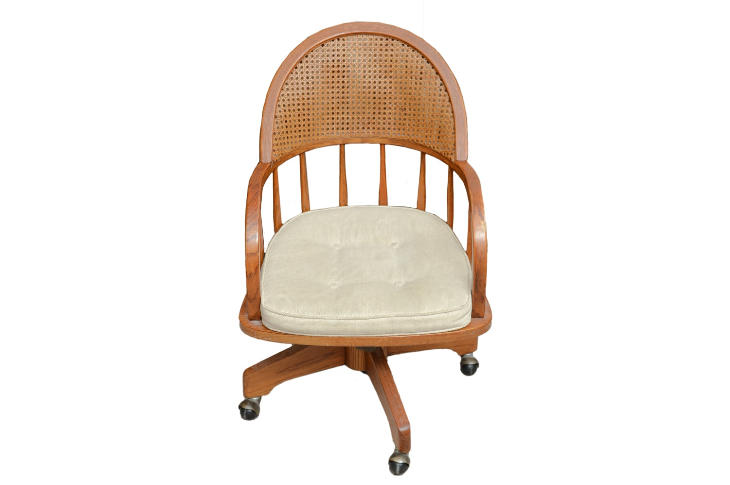 Caned-Back Oak Desk Chair