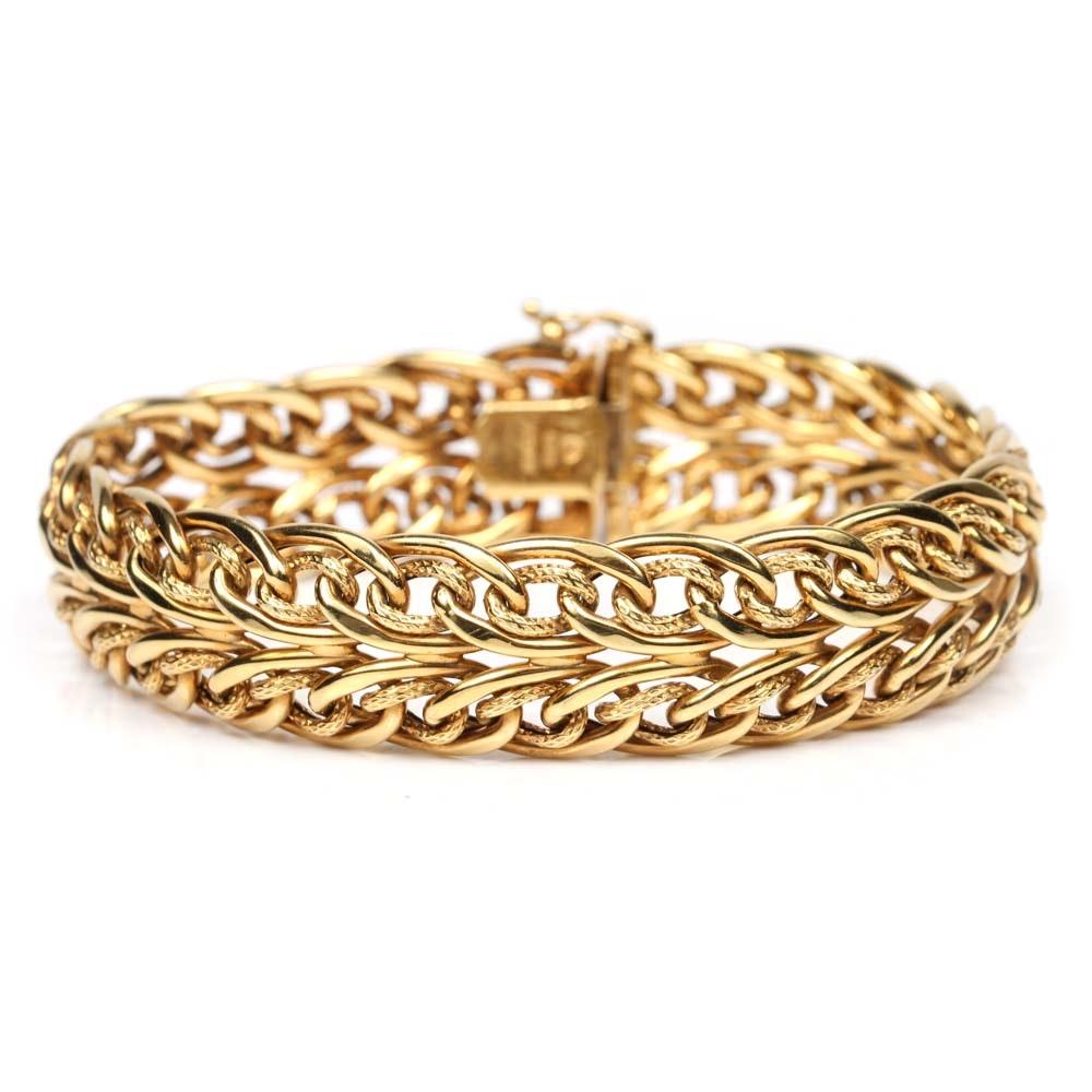 14K Yellow Gold Double Link Italian Bracelet