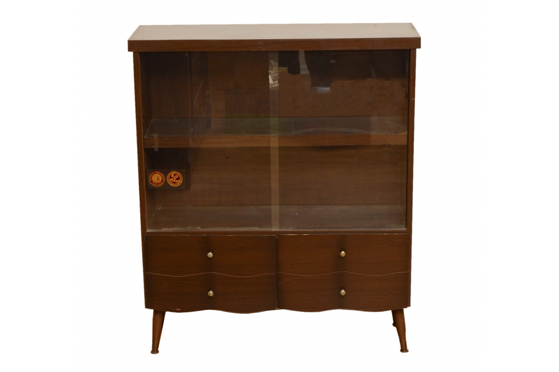Mid Century Modern Walnut Display Cabinet