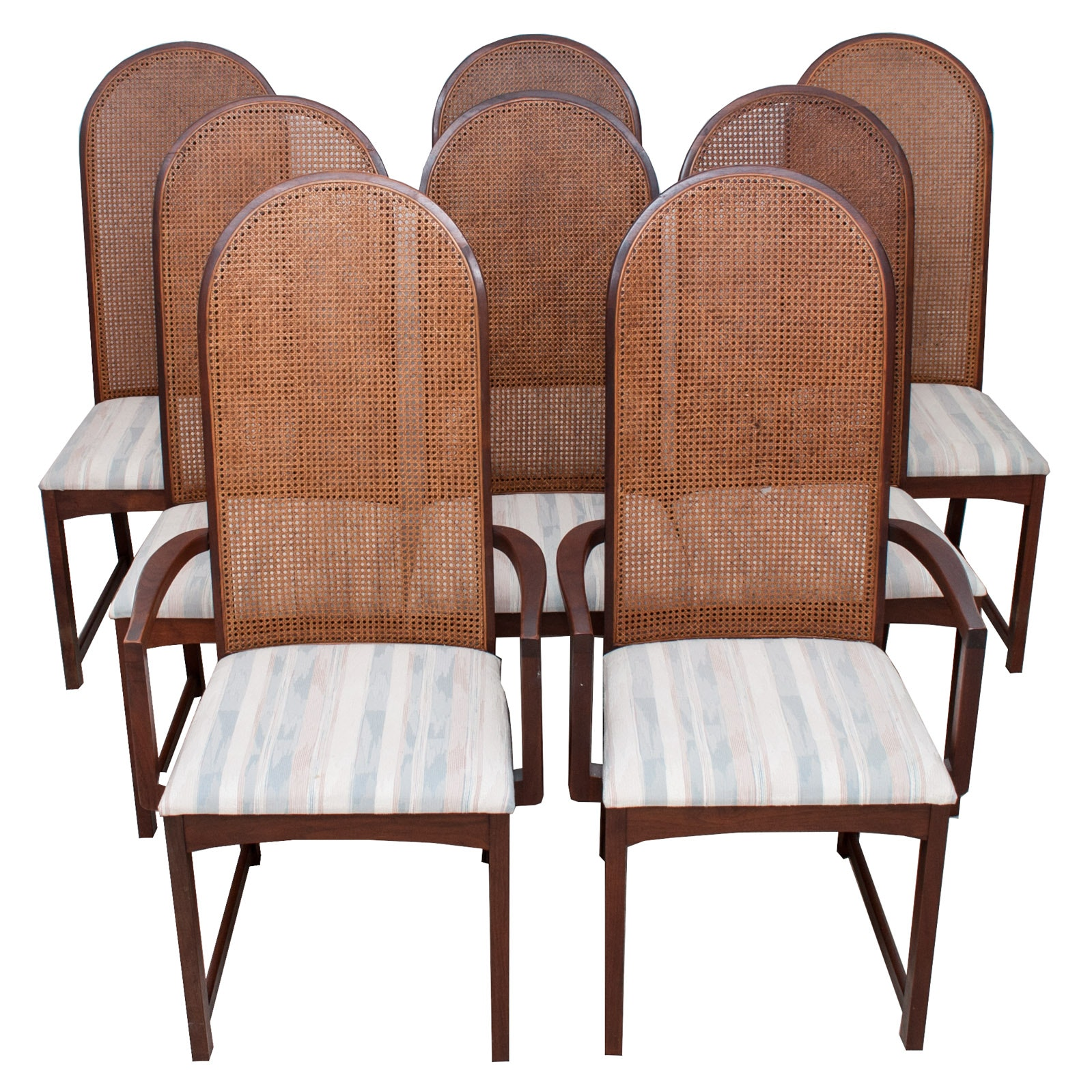 Set of Wood Cane Back Project Dining Room Chairs
