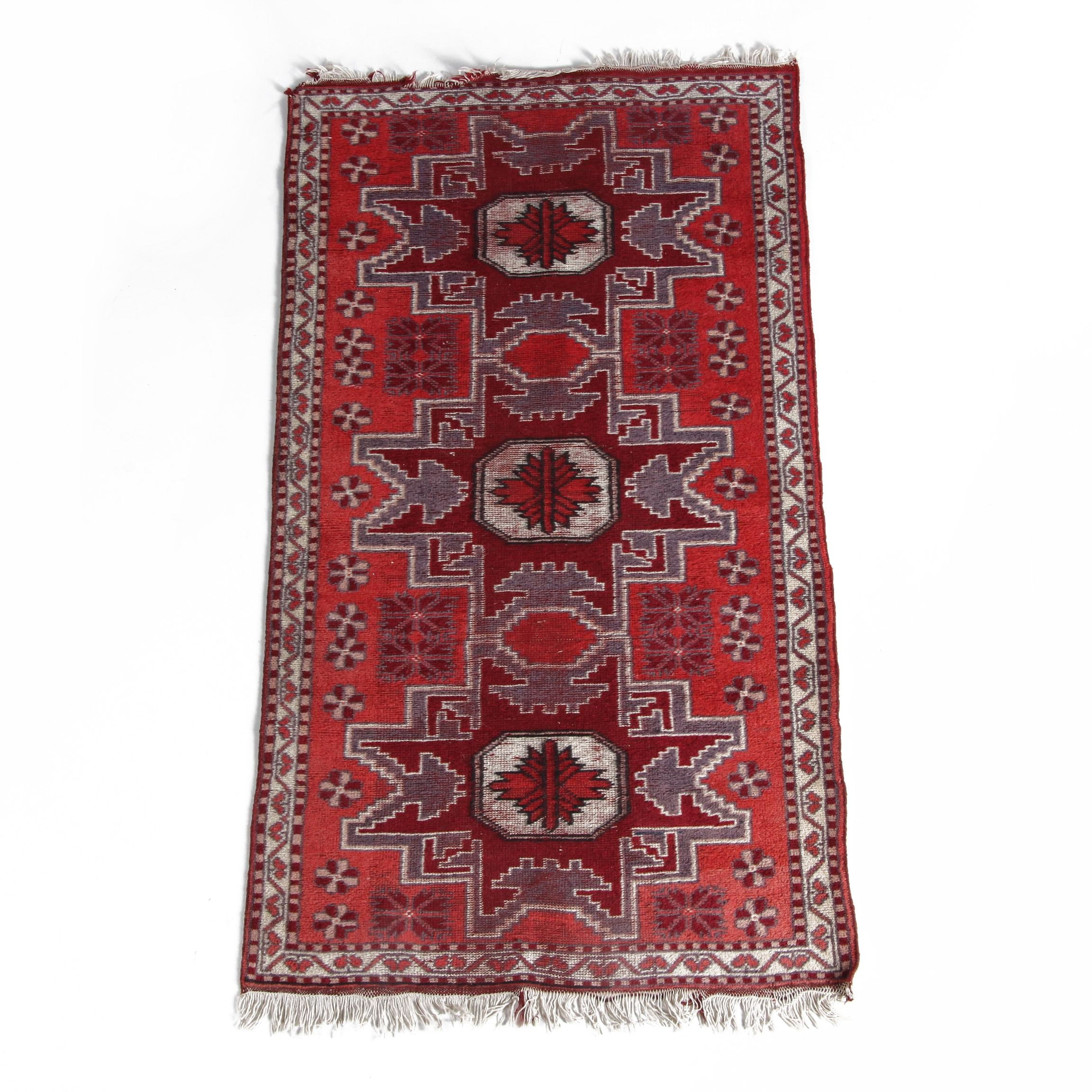 Vintage Hand-Knotted Caucasian Lesghi Wool Accent Rug