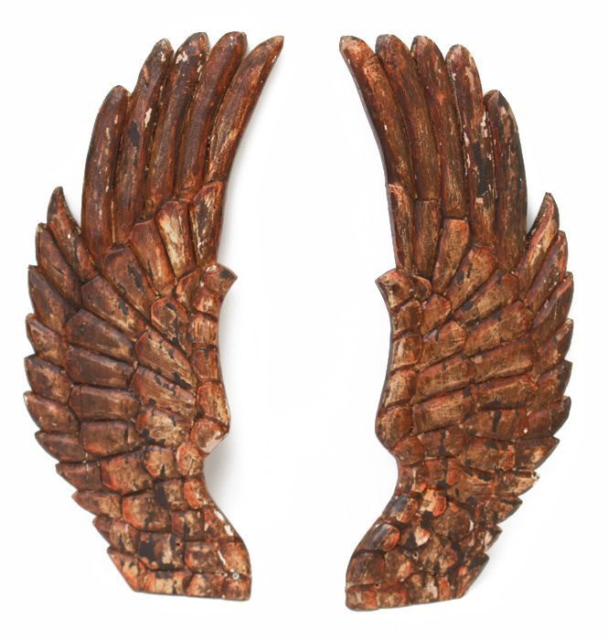 Pair of Decorative Wooden Angel Wings