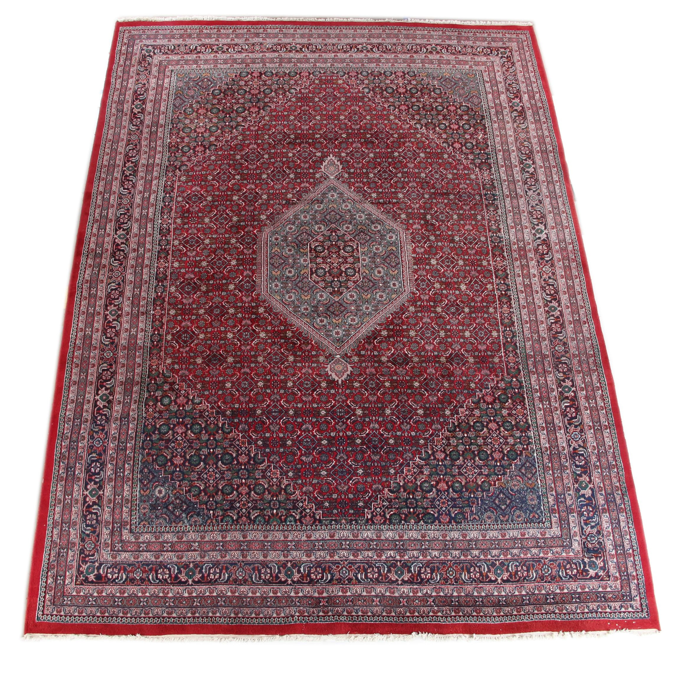 Hand-Knotted Persian Bijar Wool Room Size Rug