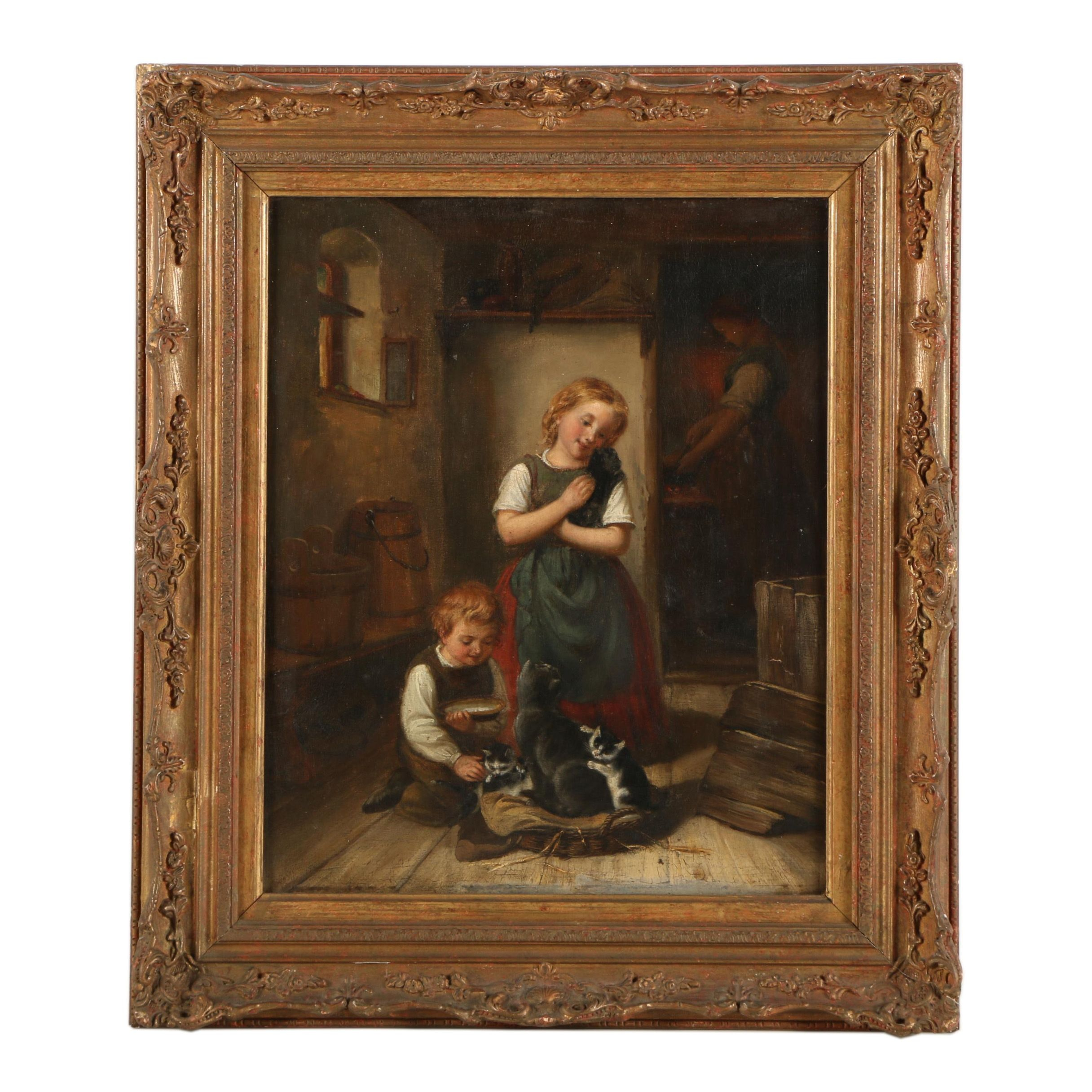 "Oil Painting Attributed to William Bromley ""Out Pets"""