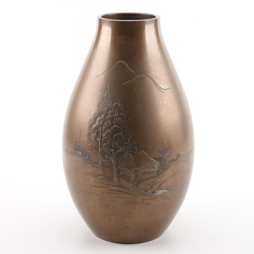 Large Japanese Bronze Vase Ebth