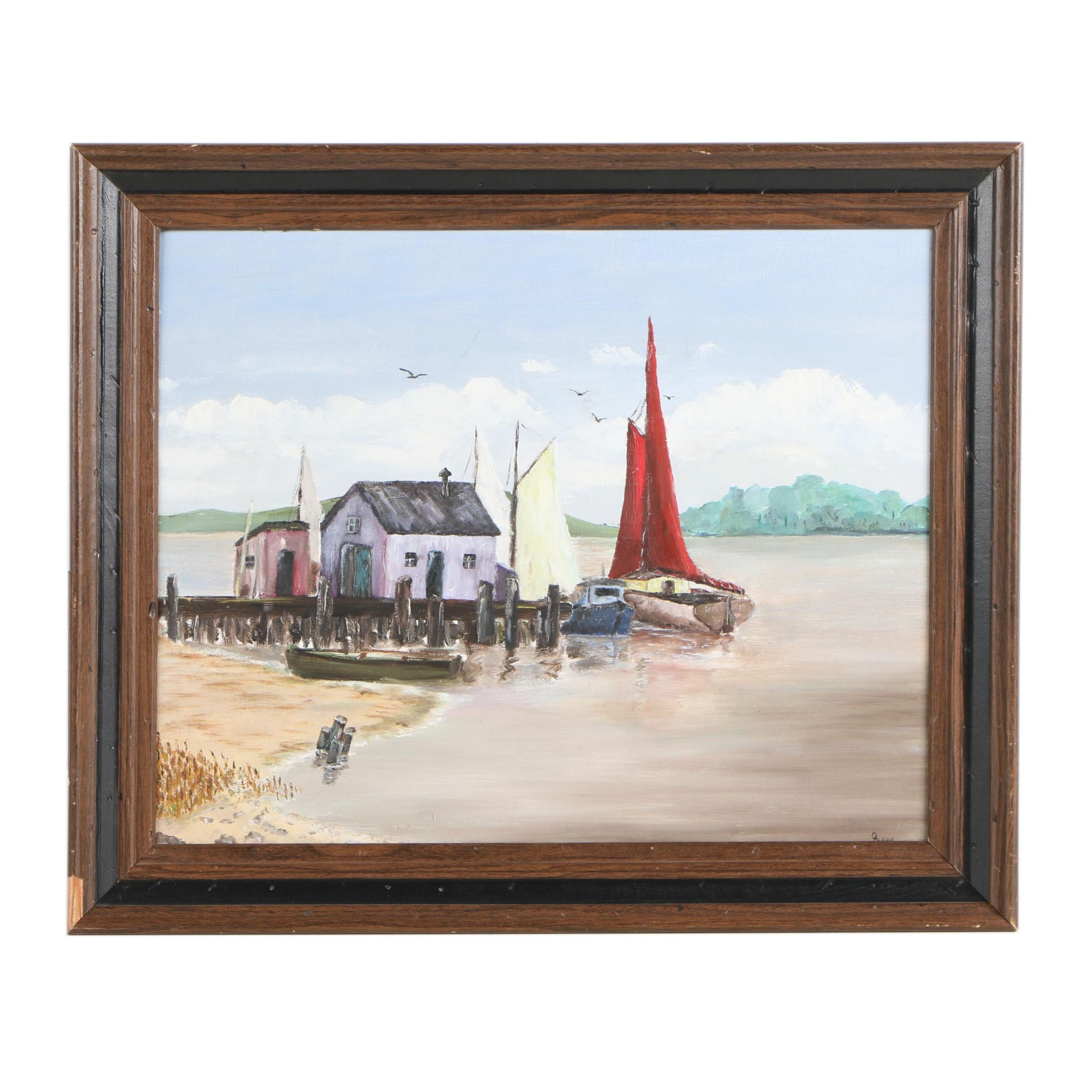 C. Aldous Oil Painting of Boats at Pier