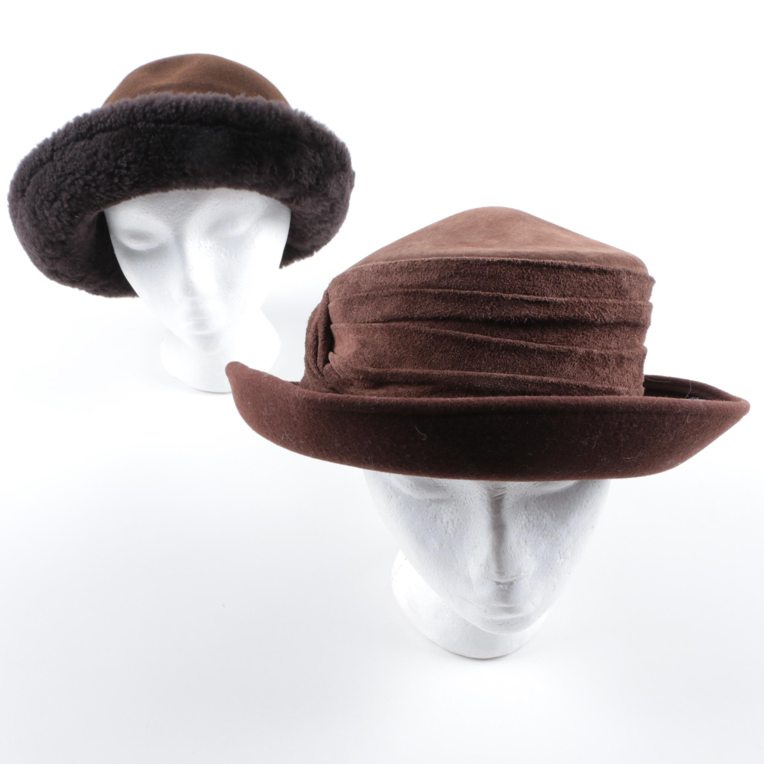 Bollman Wool Felt and Suede Hat and Faux Fur Trimmed Hat