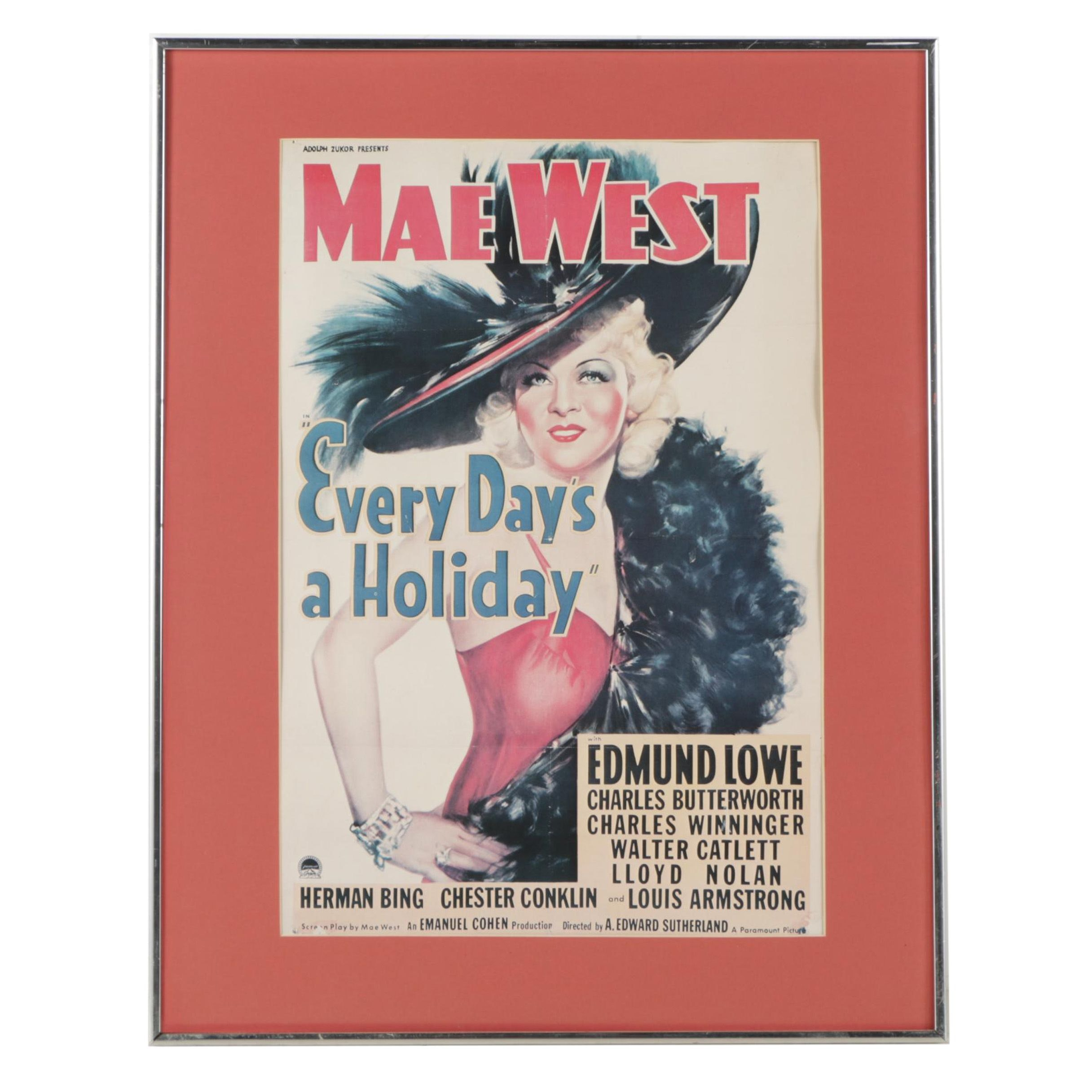 "Reproduction Movie Poster for Mae West's ""Every Day's a Holiday"""