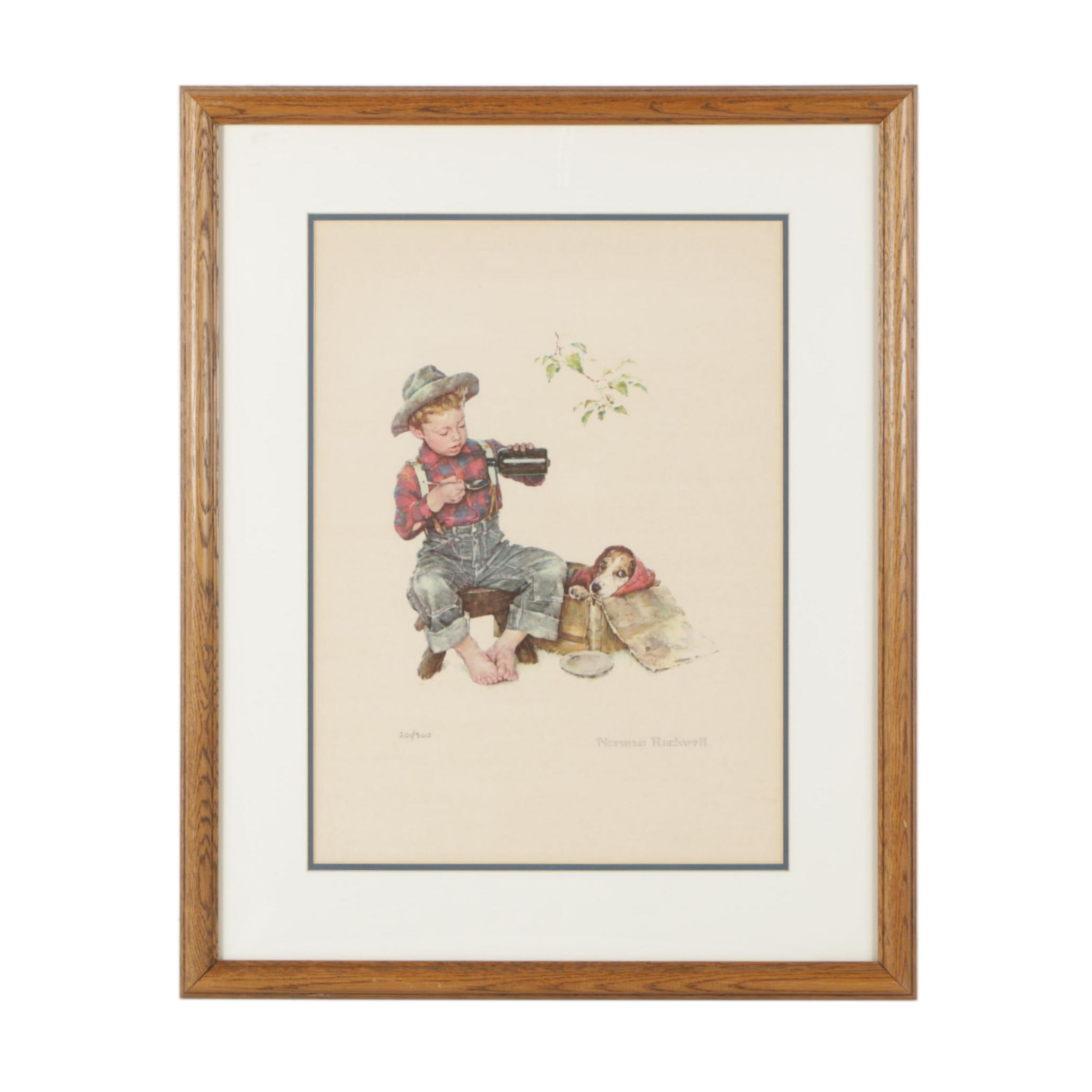 """Limited Edition Offset Lithograph After Norman Rockwell """"Mysterious Malady"""""""