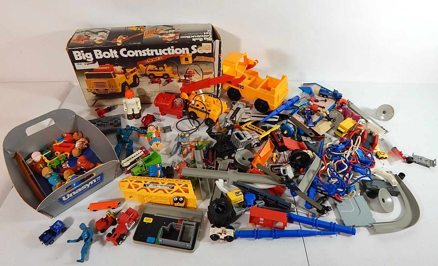 Vintage Construction Toy Lot with Slot Cars