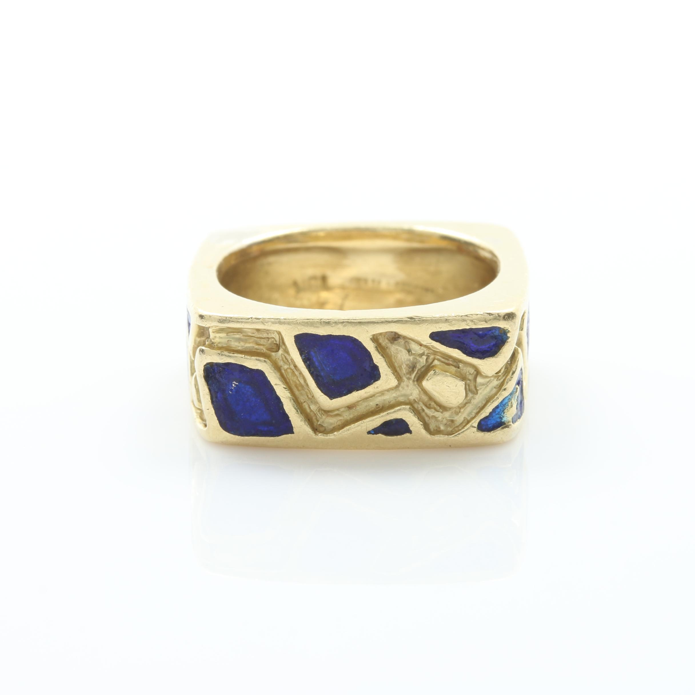 18K Yellow Gold Blue Enamel Square Ring