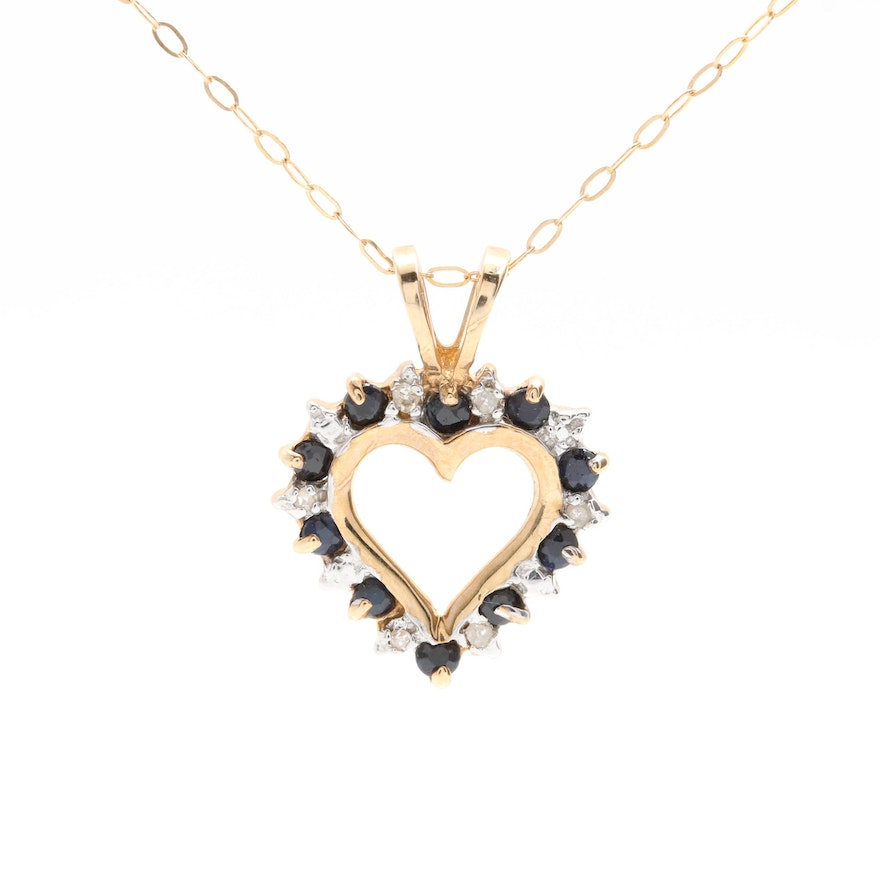 10k yellow gold sapphire and diamond heart necklace ebth 10k yellow gold sapphire and diamond heart necklace aloadofball Gallery