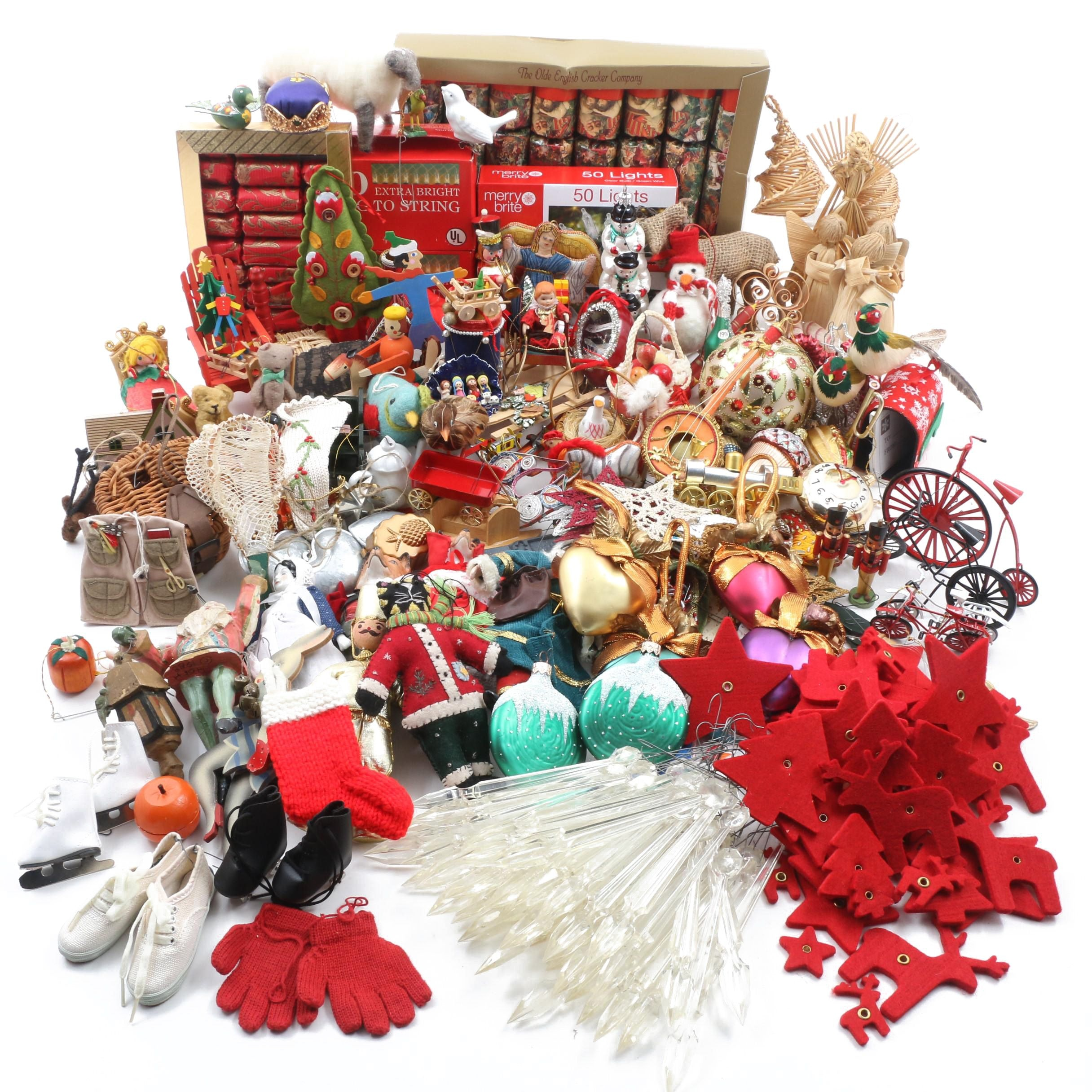 Large Assortment of Christmas Themed Ornaments and Decorations