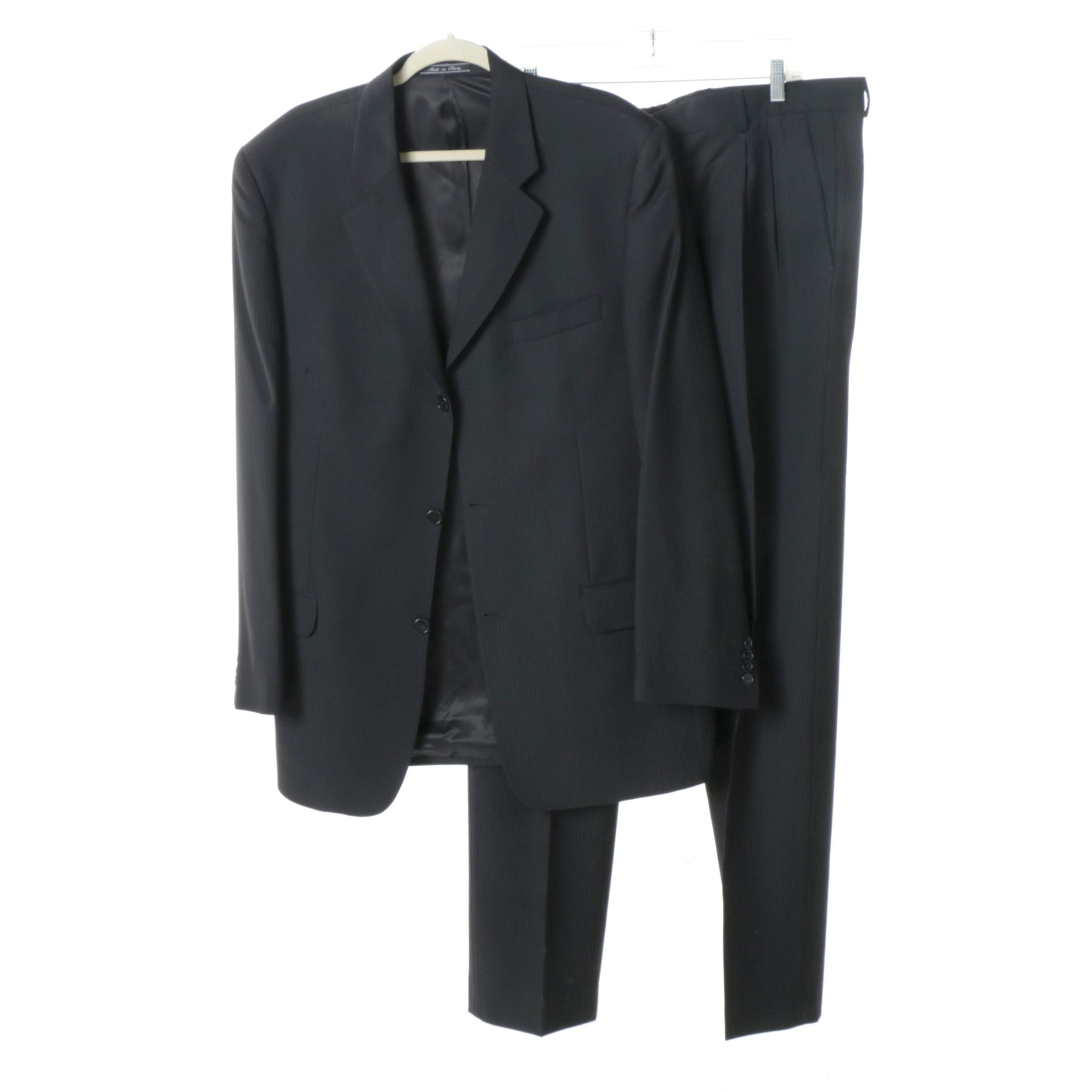 Men's Bachrach Black Single-Breasted Suit