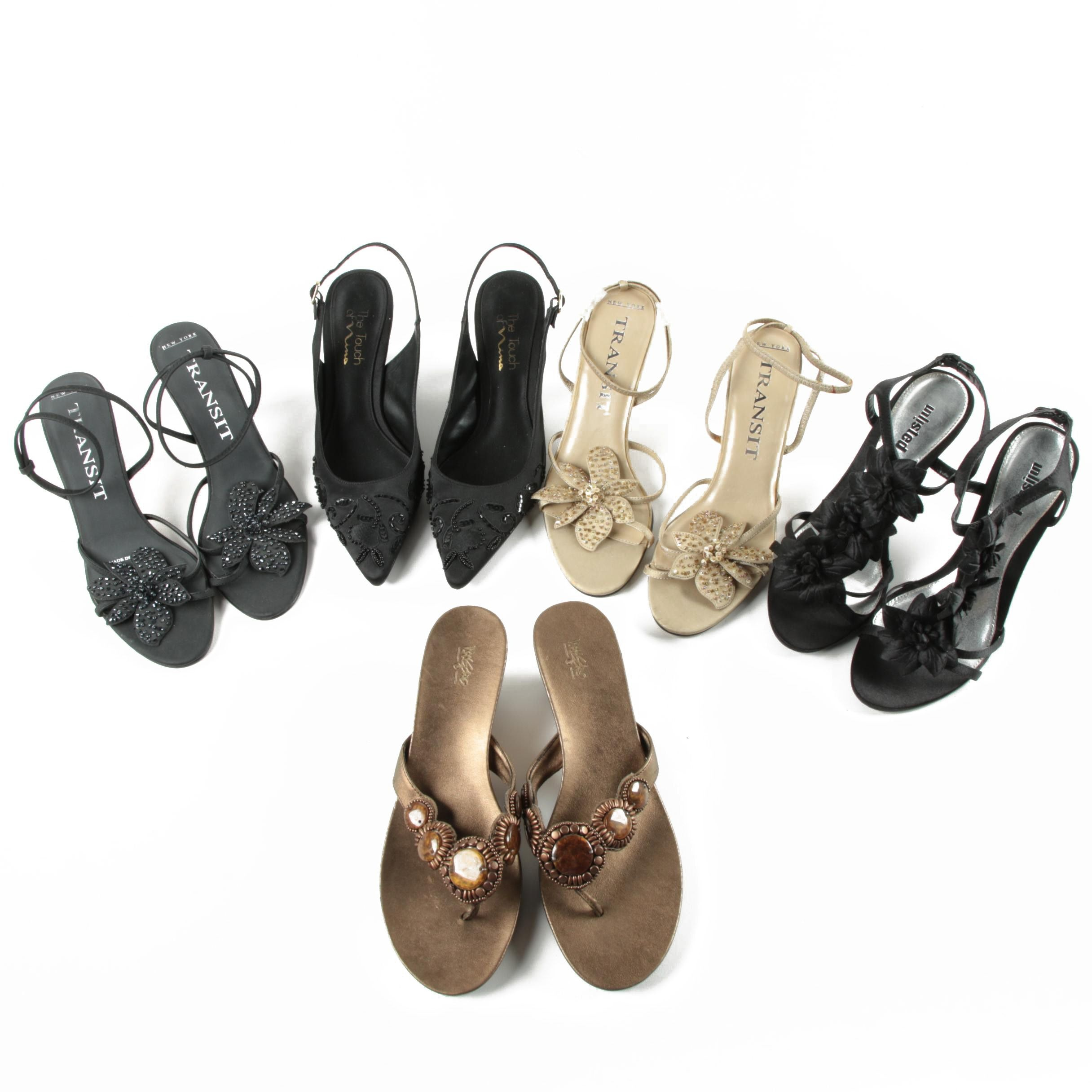 Women's Black Embellished Satin High Heels and Wedge Thong Sandals