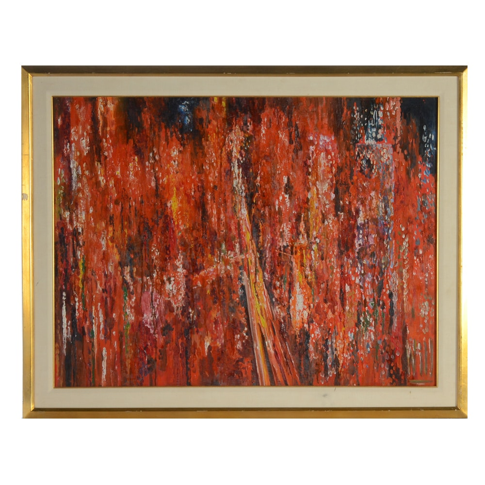 Original Oil on Board Abstract Painting