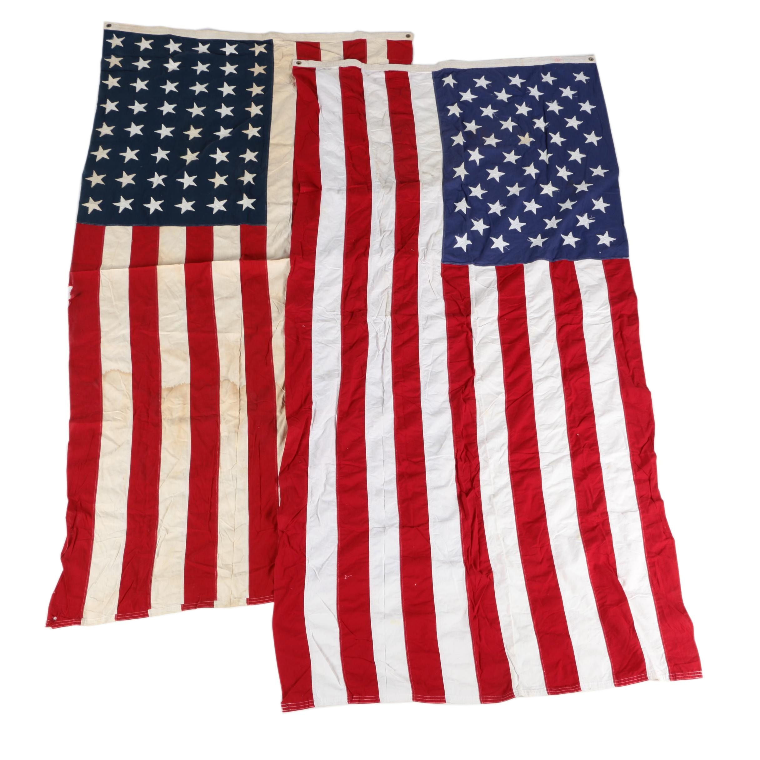 Vintage Cloth 48 Star and 50 Star American Flags