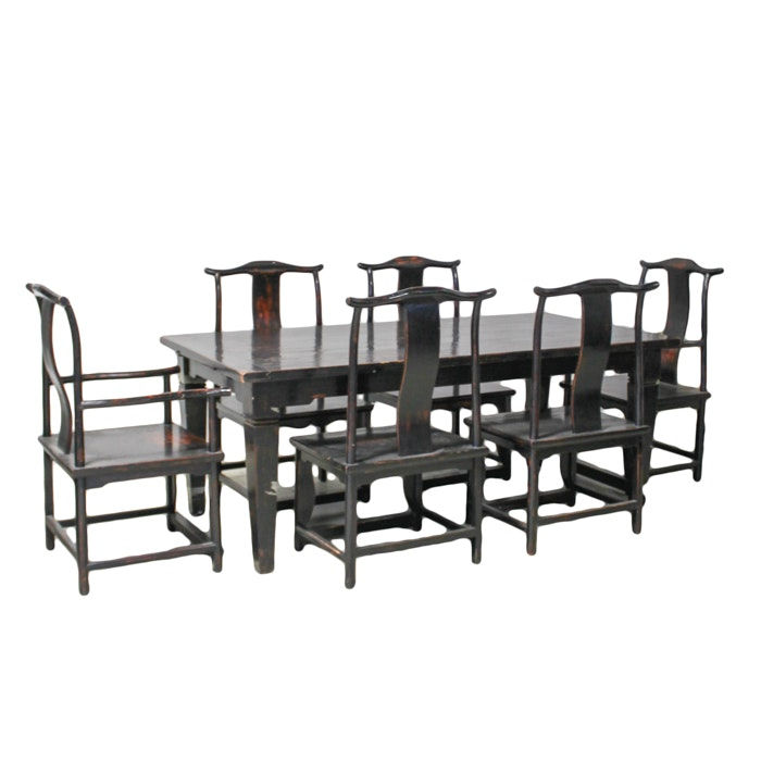 Chinese Dining Table with Yoke-Back Chairs and Armchairs